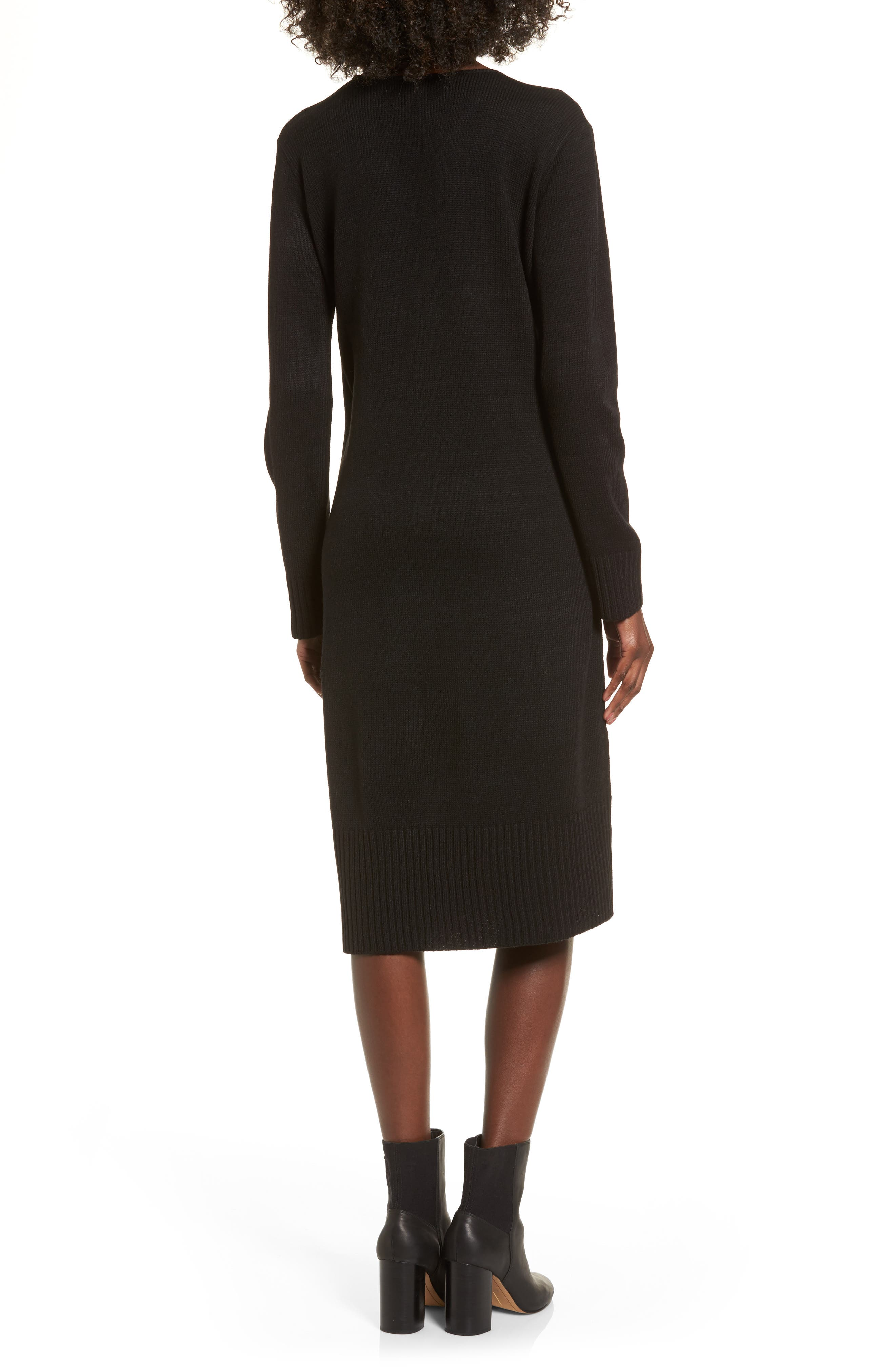Sweater Dress,                             Alternate thumbnail 2, color,                             Black