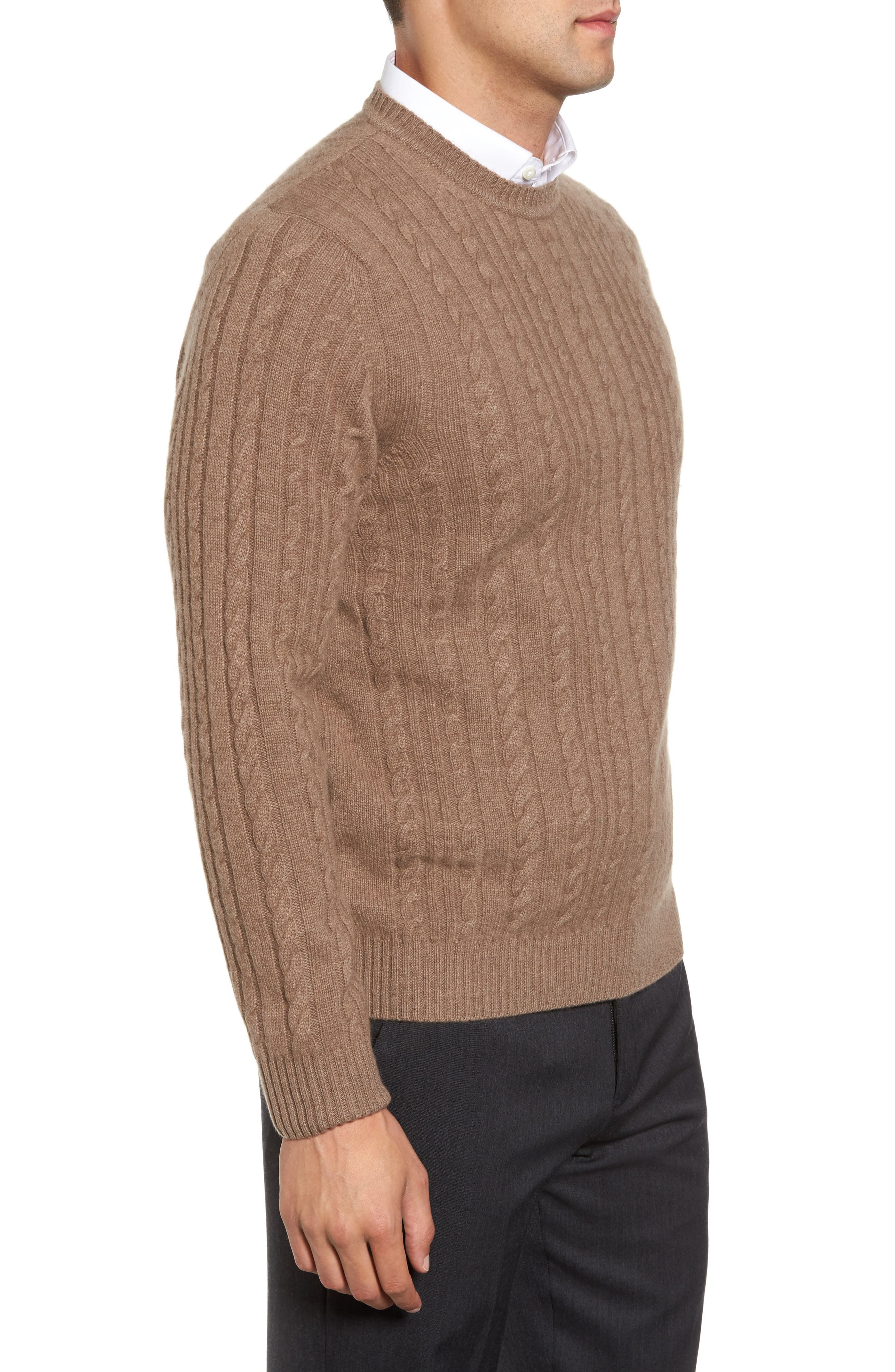 Alternate Image 3  - David Donahue Cable Knit Cashmere Sweater