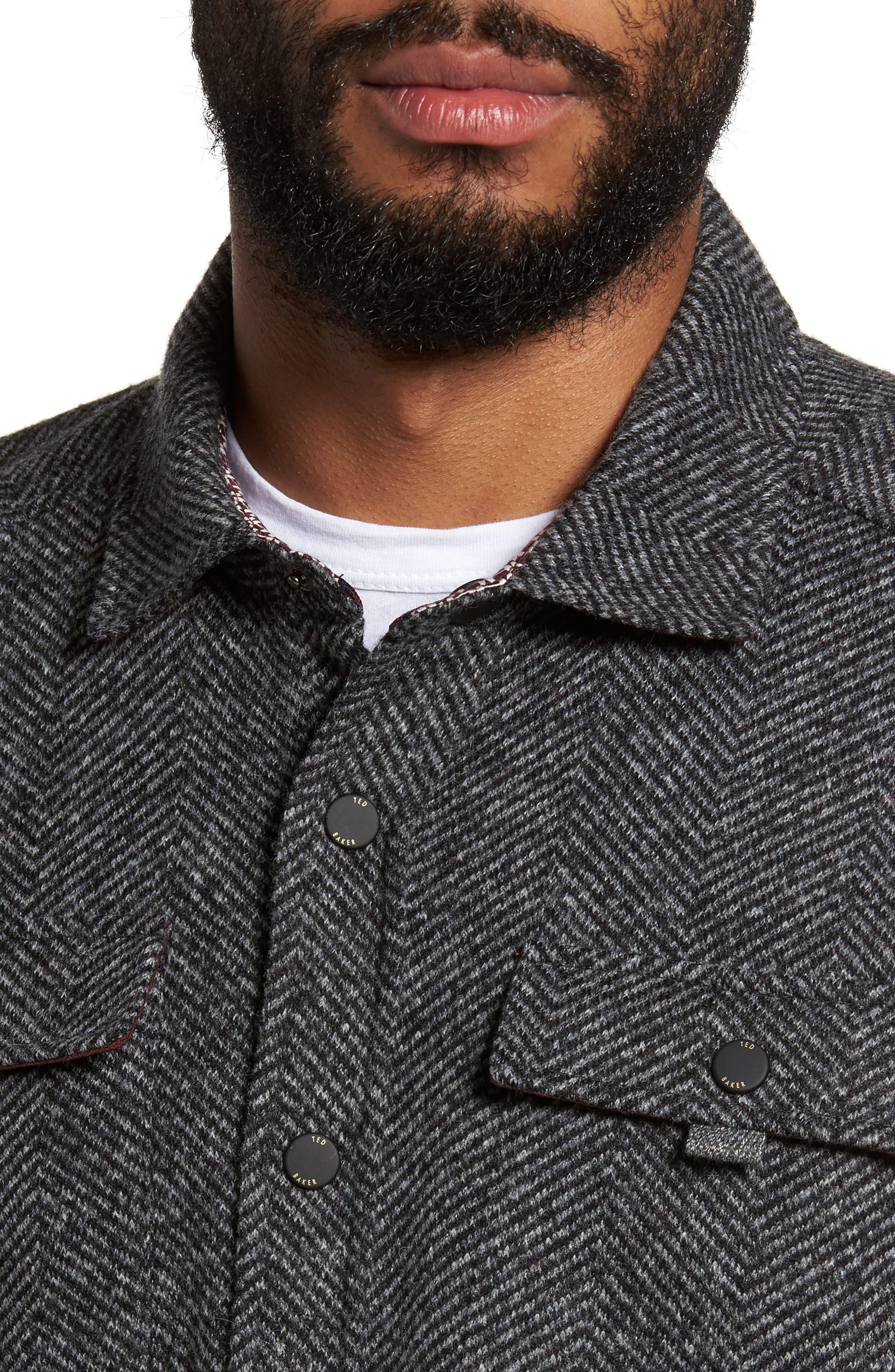 Alternate Image 4  - Ted Baker London Chelts Slim Fit Herringbone Overshirt