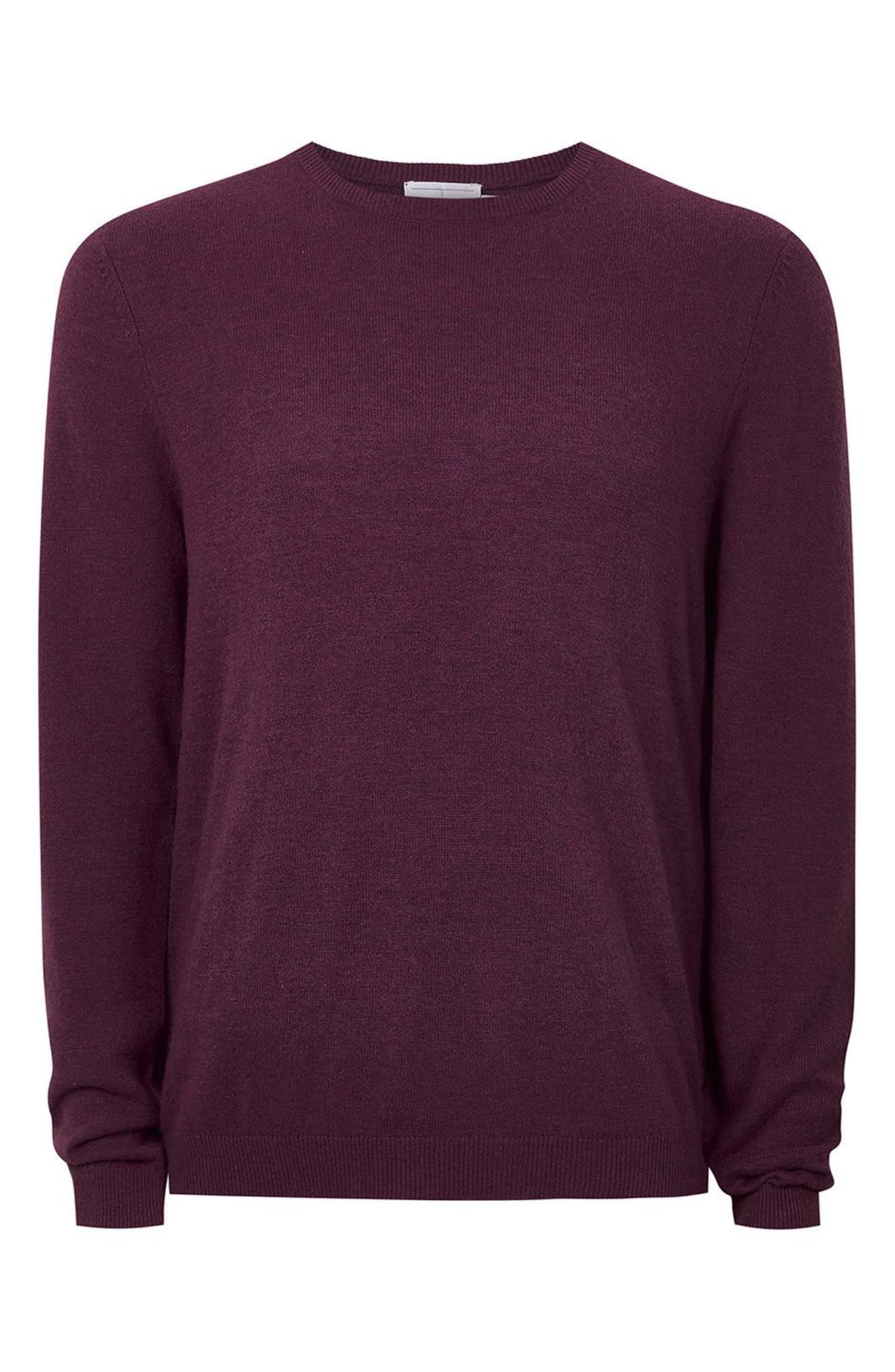 Crewneck Sweater,                             Alternate thumbnail 4, color,                             Burgundy