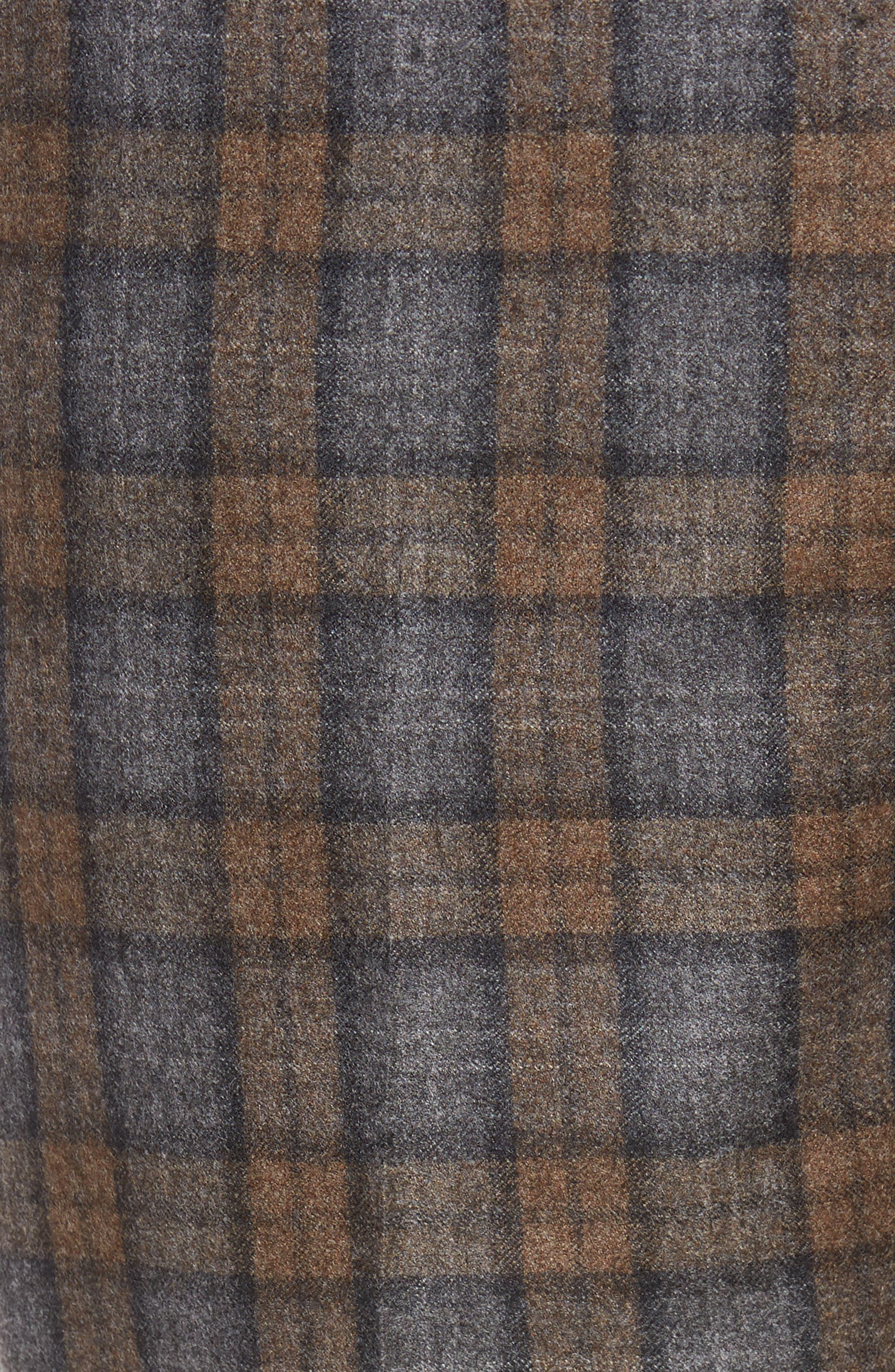 Flat Front Plaid Wool Trousers,                             Alternate thumbnail 5, color,                             Dark Tan
