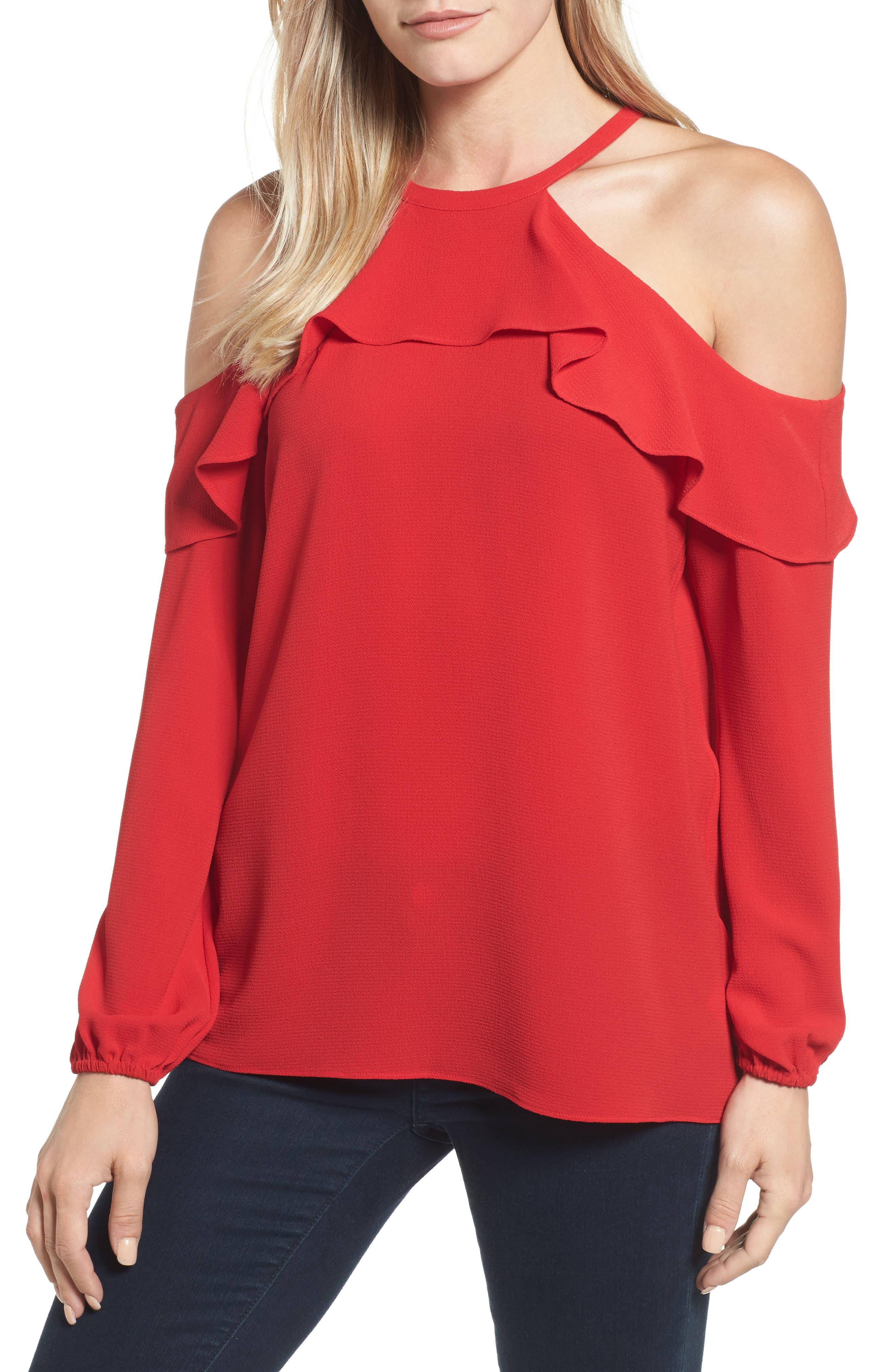 Cold Shoulder Ruffle Top,                         Main,                         color, Crimson