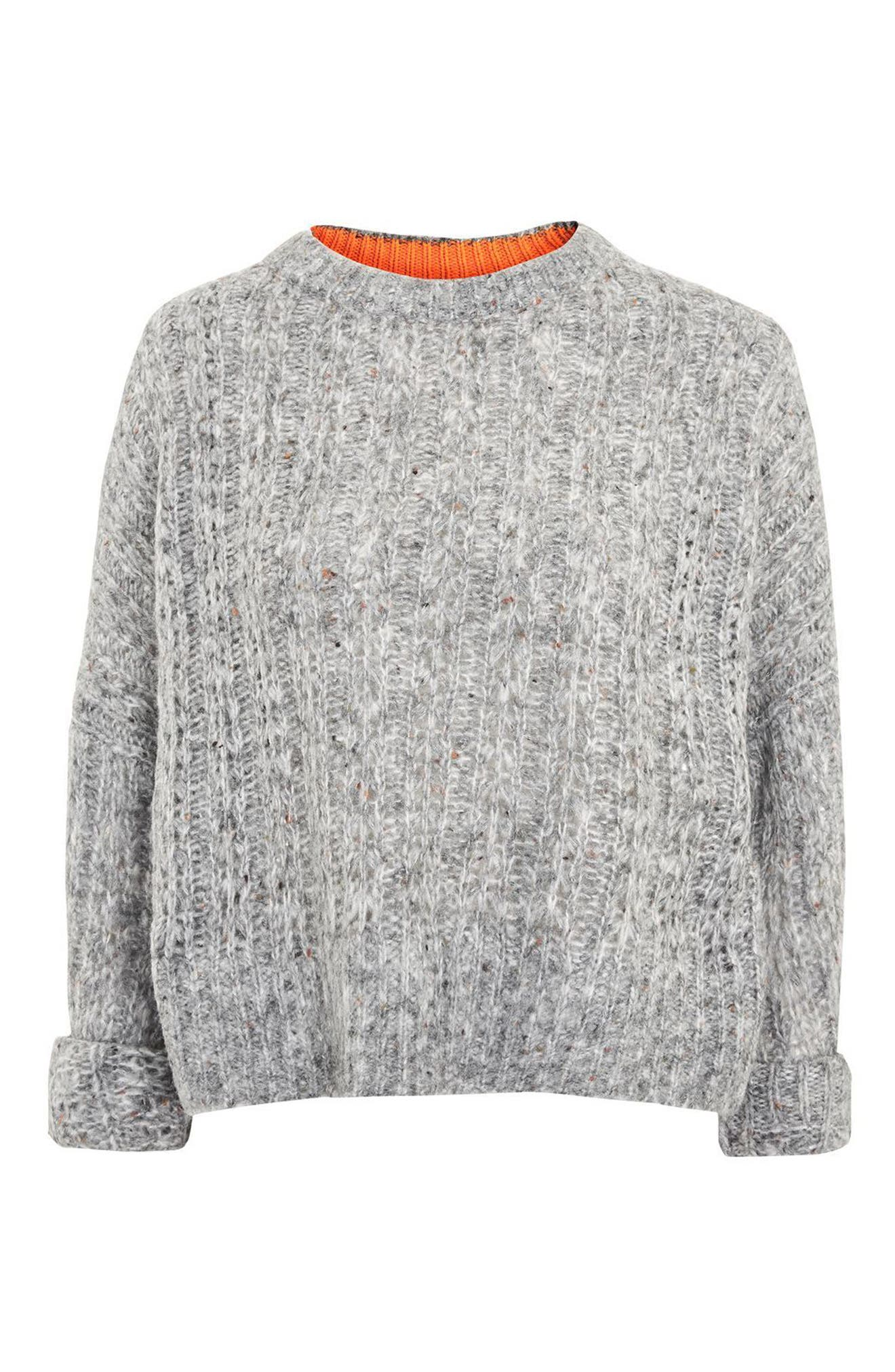 Soft Nep Sweater,                             Alternate thumbnail 5, color,                             Grey Marl Multi