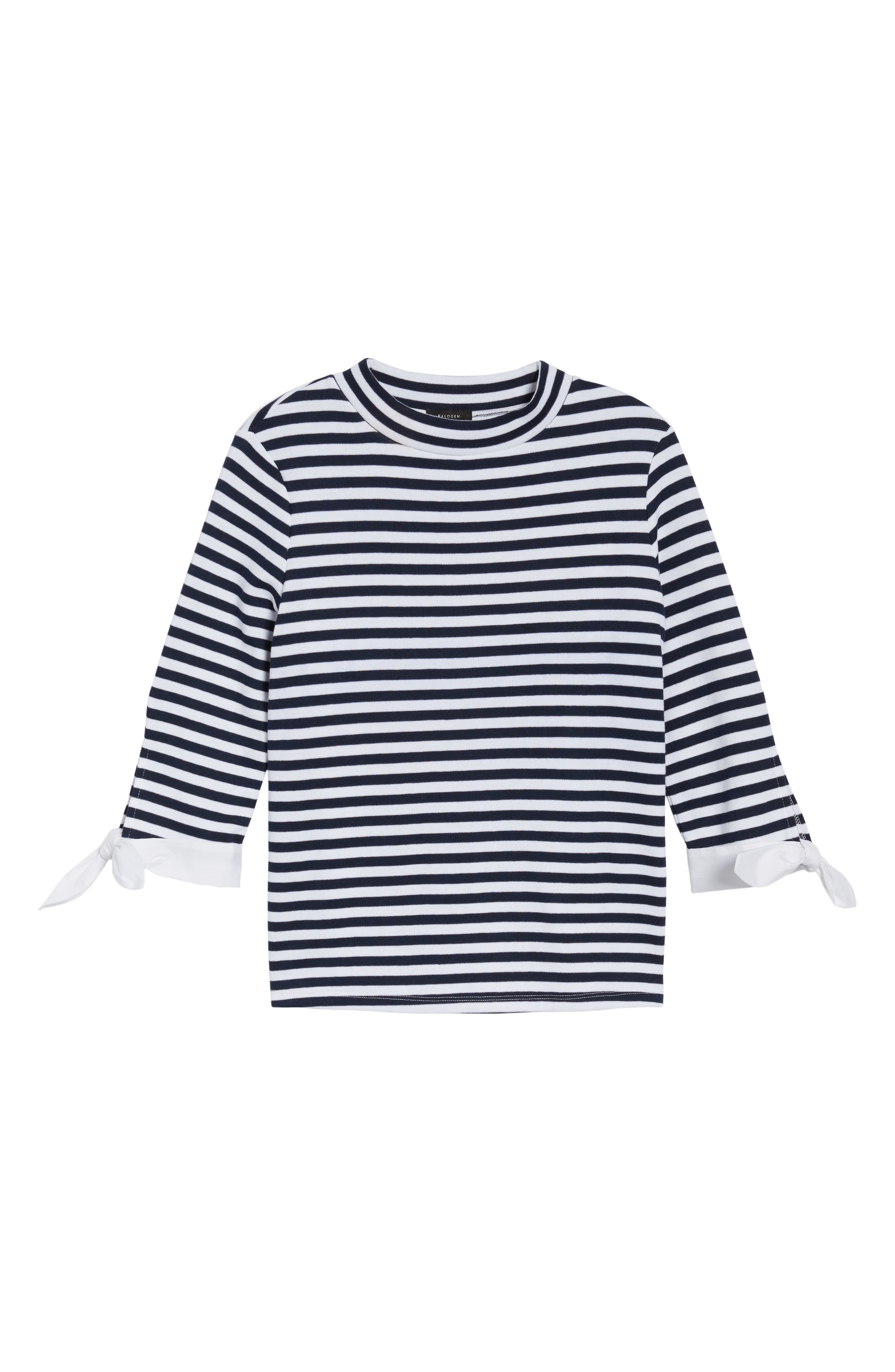 Poplin Tie Cuff Knit Top,                             Alternate thumbnail 6, color,                             Navy- White Stripe