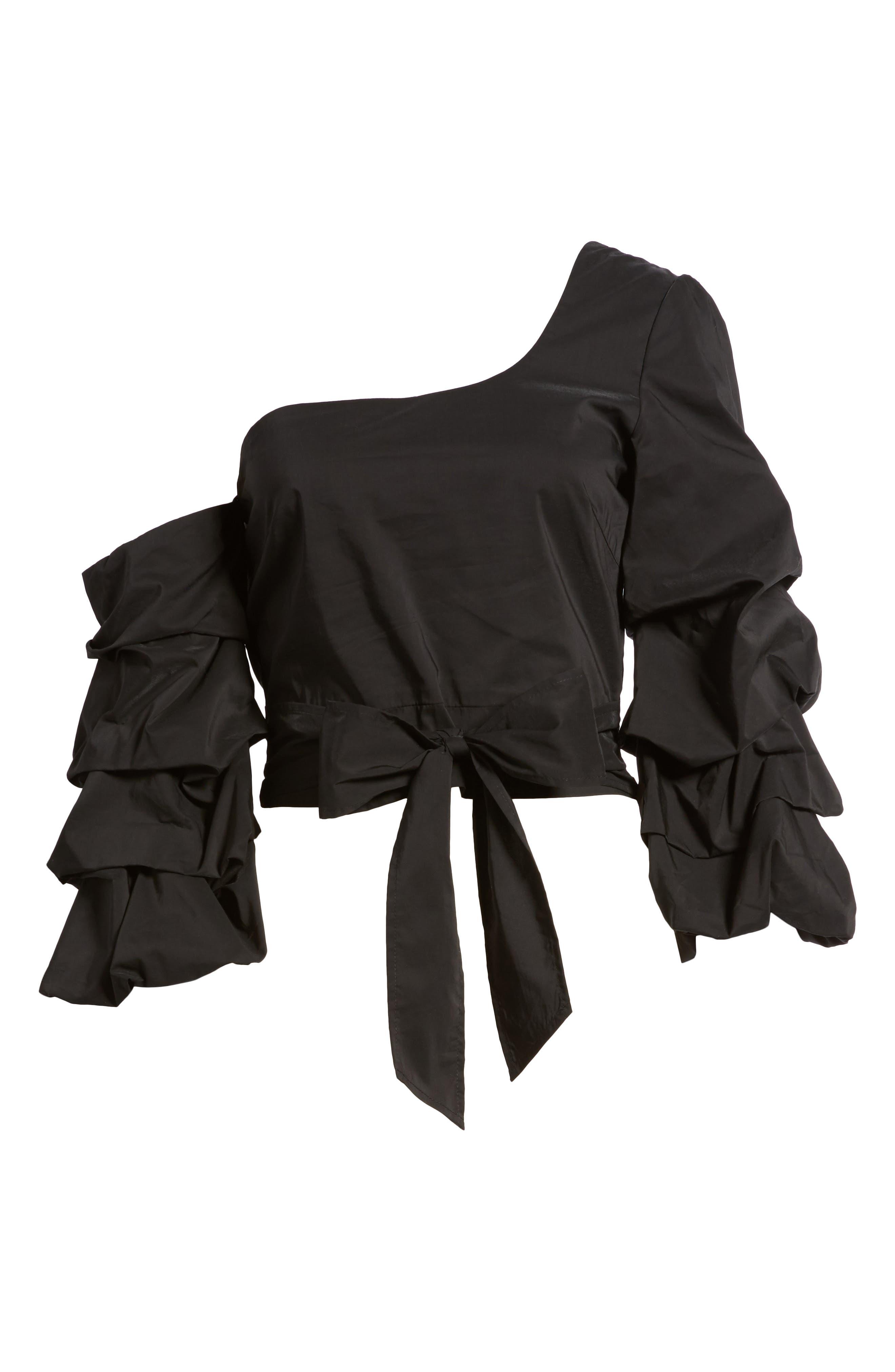 Ruffle One-Shoulder Blouse,                             Alternate thumbnail 6, color,                             Black