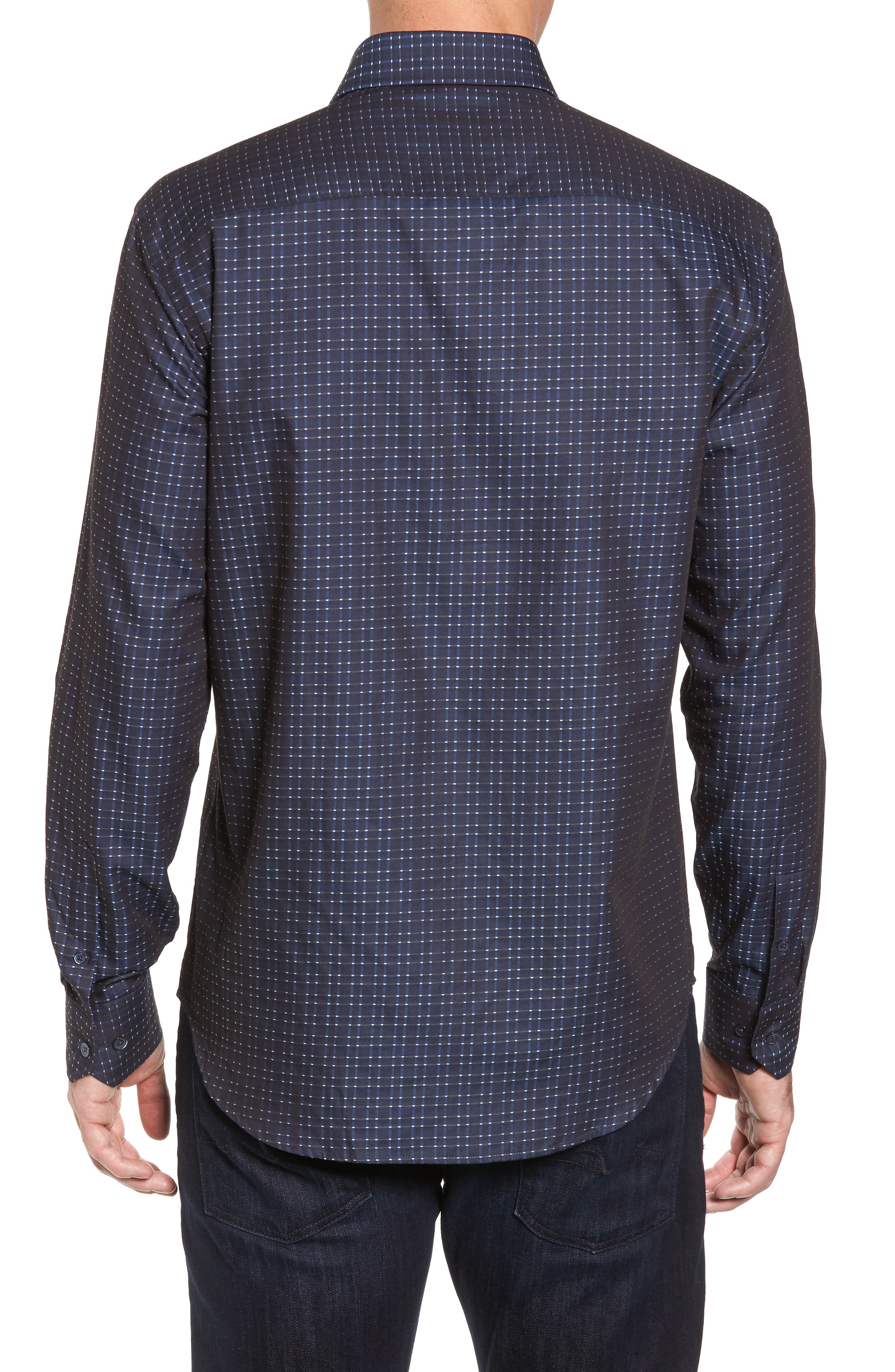 Shaped Fit Sport Shirt,                             Alternate thumbnail 2, color,                             Midnight