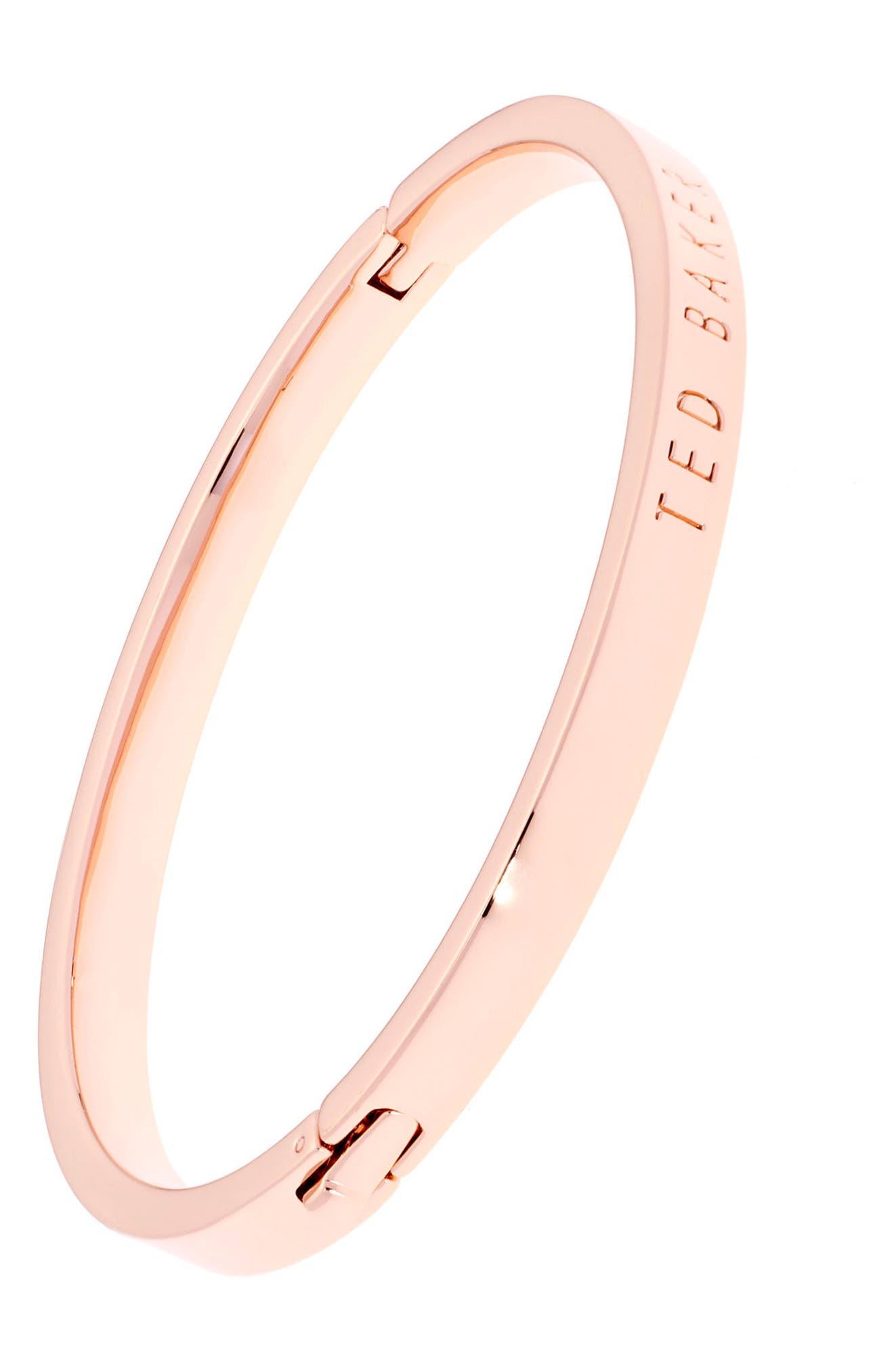 Metallic Hinge Bangle Bracelet,                             Alternate thumbnail 2, color,                             Rose Gold