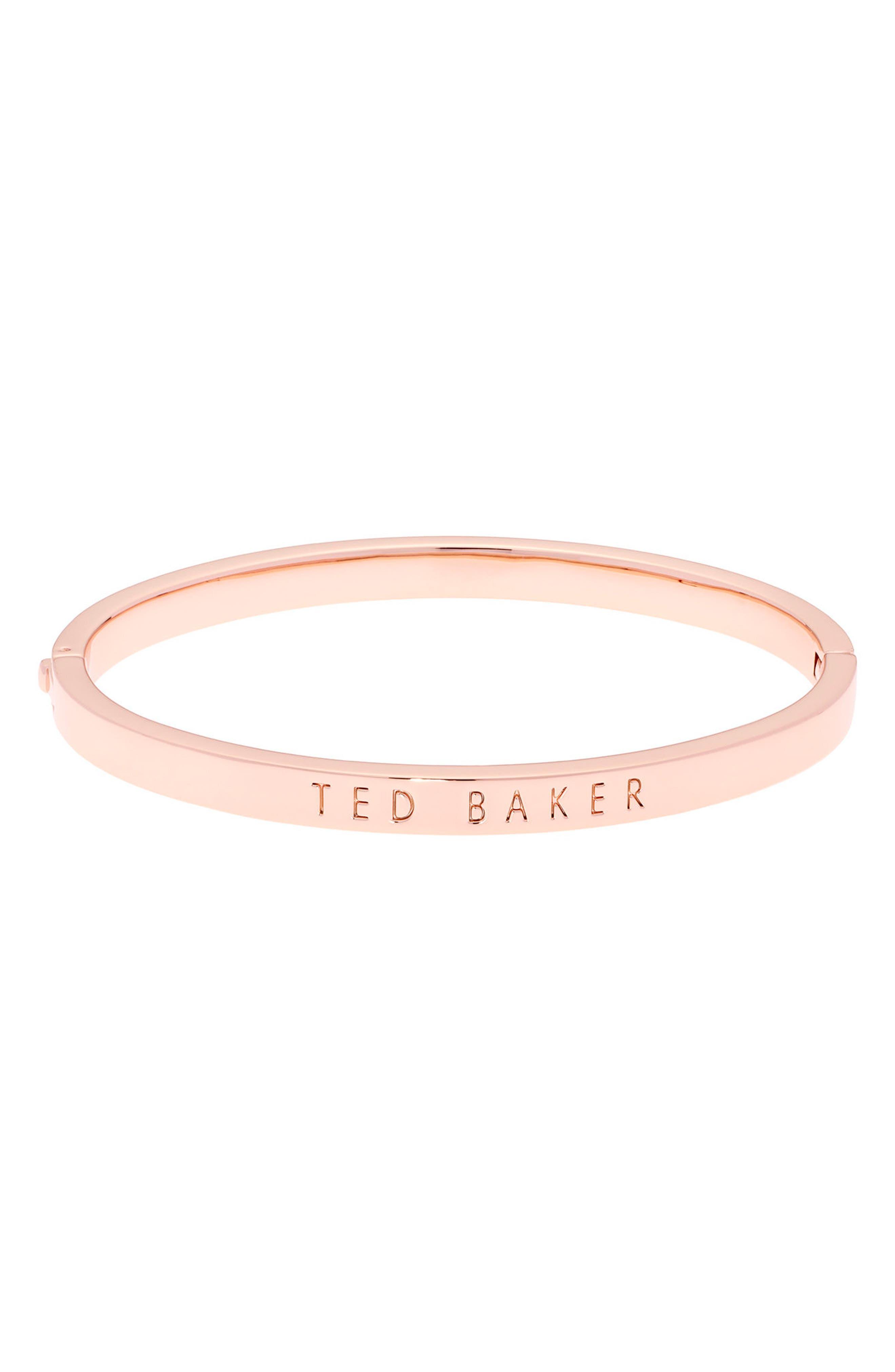 Metallic Hinge Bangle Bracelet,                         Main,                         color, Rose Gold