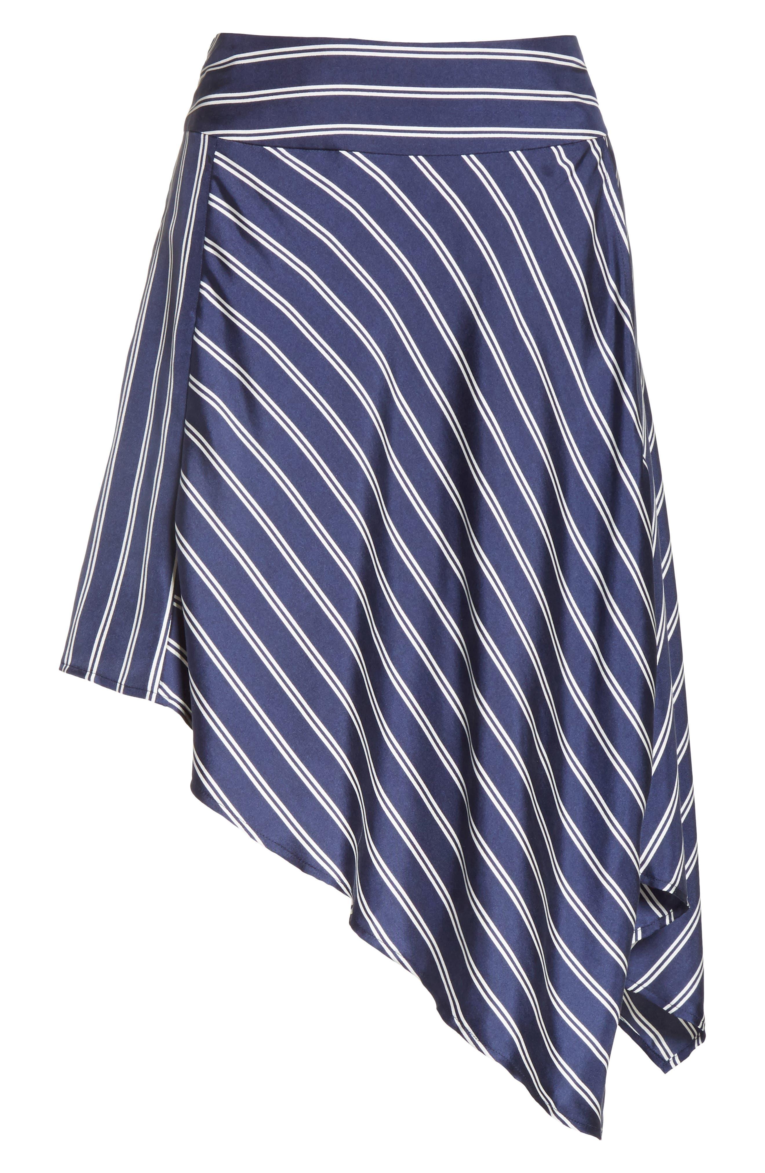 Adelpha Stripe Silk Skirt,                             Alternate thumbnail 6, color,                             Dark Navy