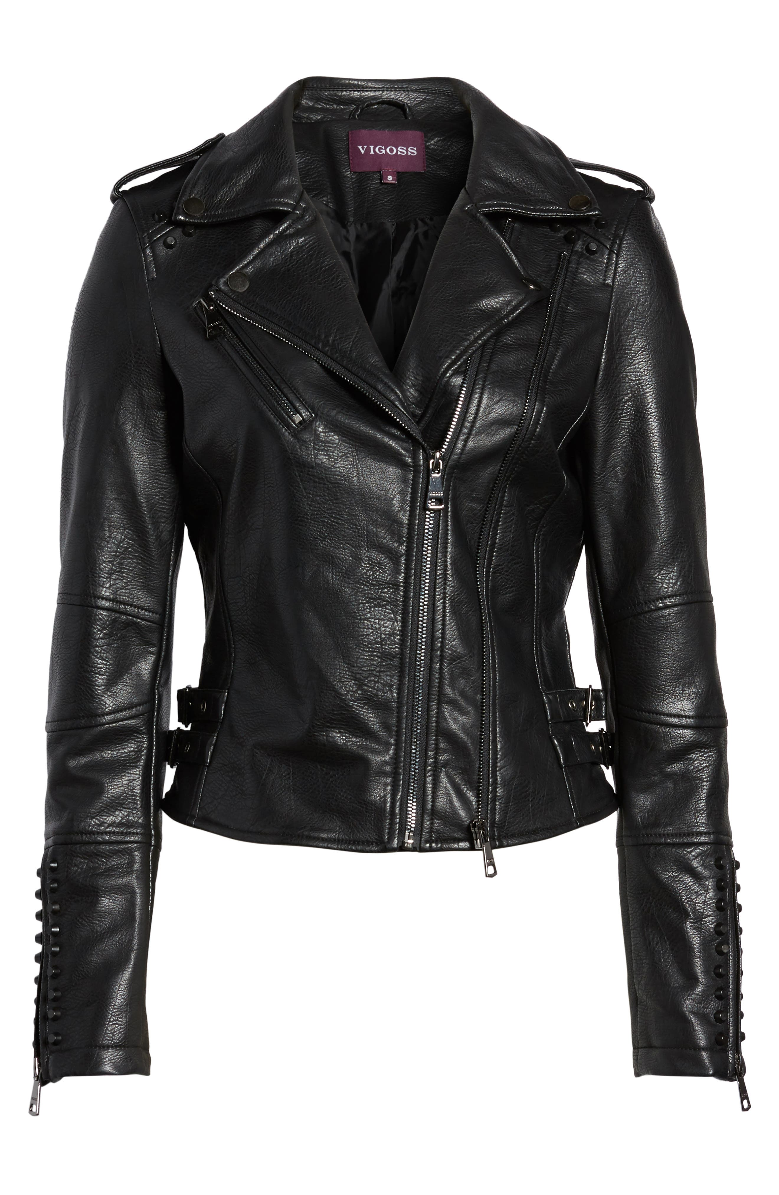 Studded Faux Leather Moto Jacket,                             Alternate thumbnail 6, color,                             Black
