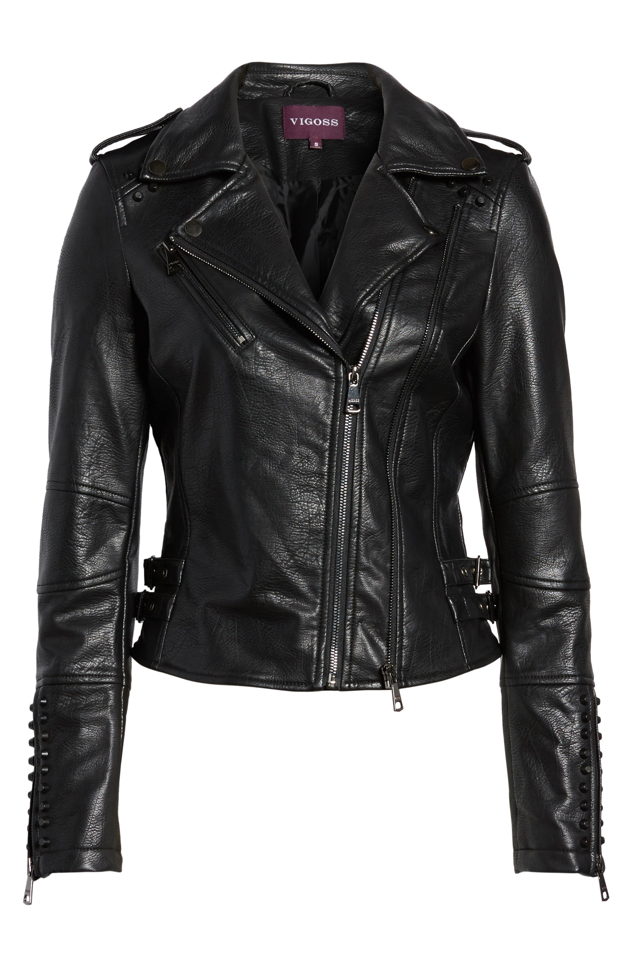 Alternate Image 6  - Vigoss Studded Faux Leather Moto Jacket