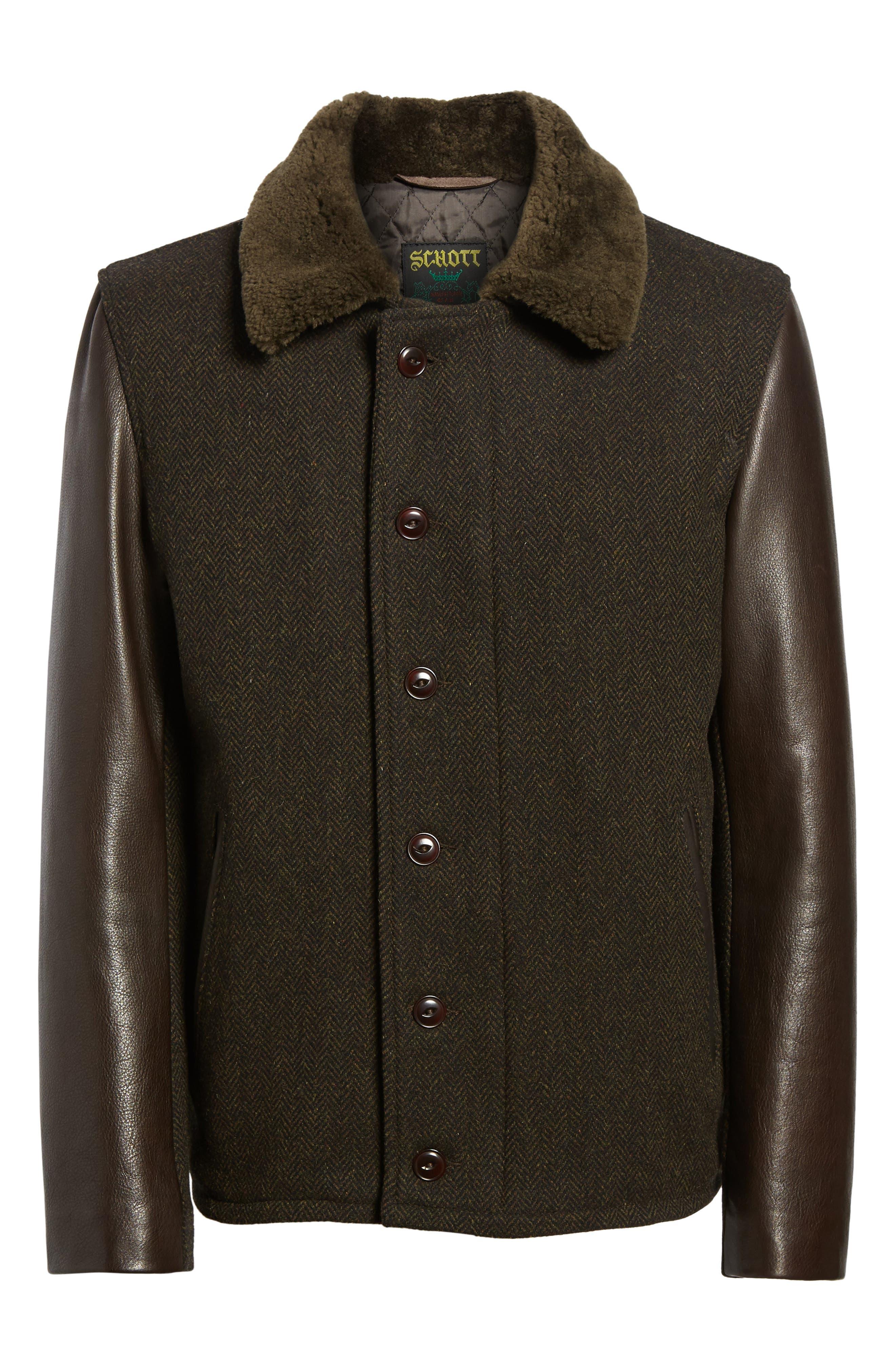 Genuine Shearling Collar N-1 Deck Jacket,                             Alternate thumbnail 6, color,                             Olive