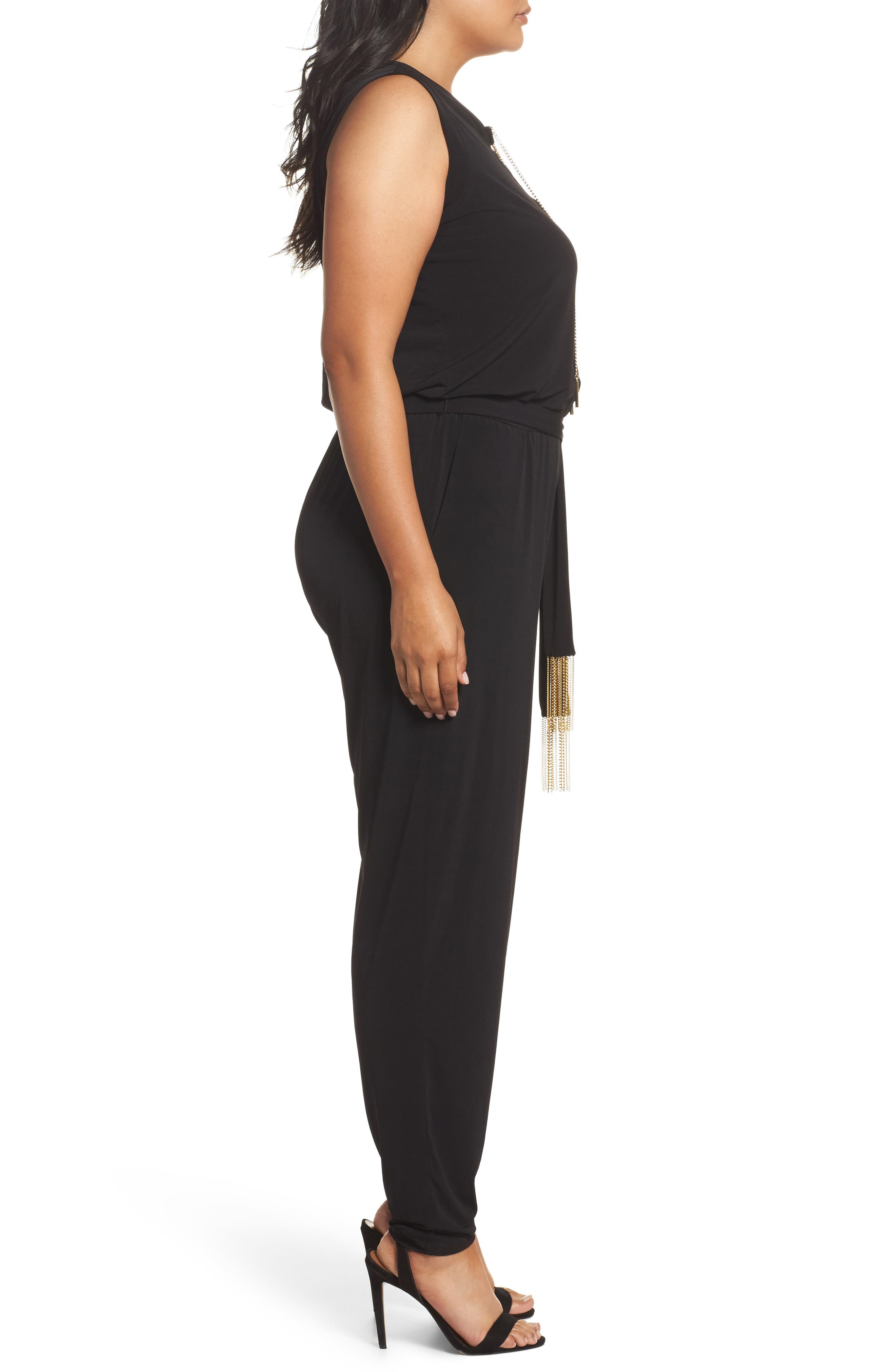Lace-Up Sleeveless Jumpsuit,                             Alternate thumbnail 3, color,                             Black