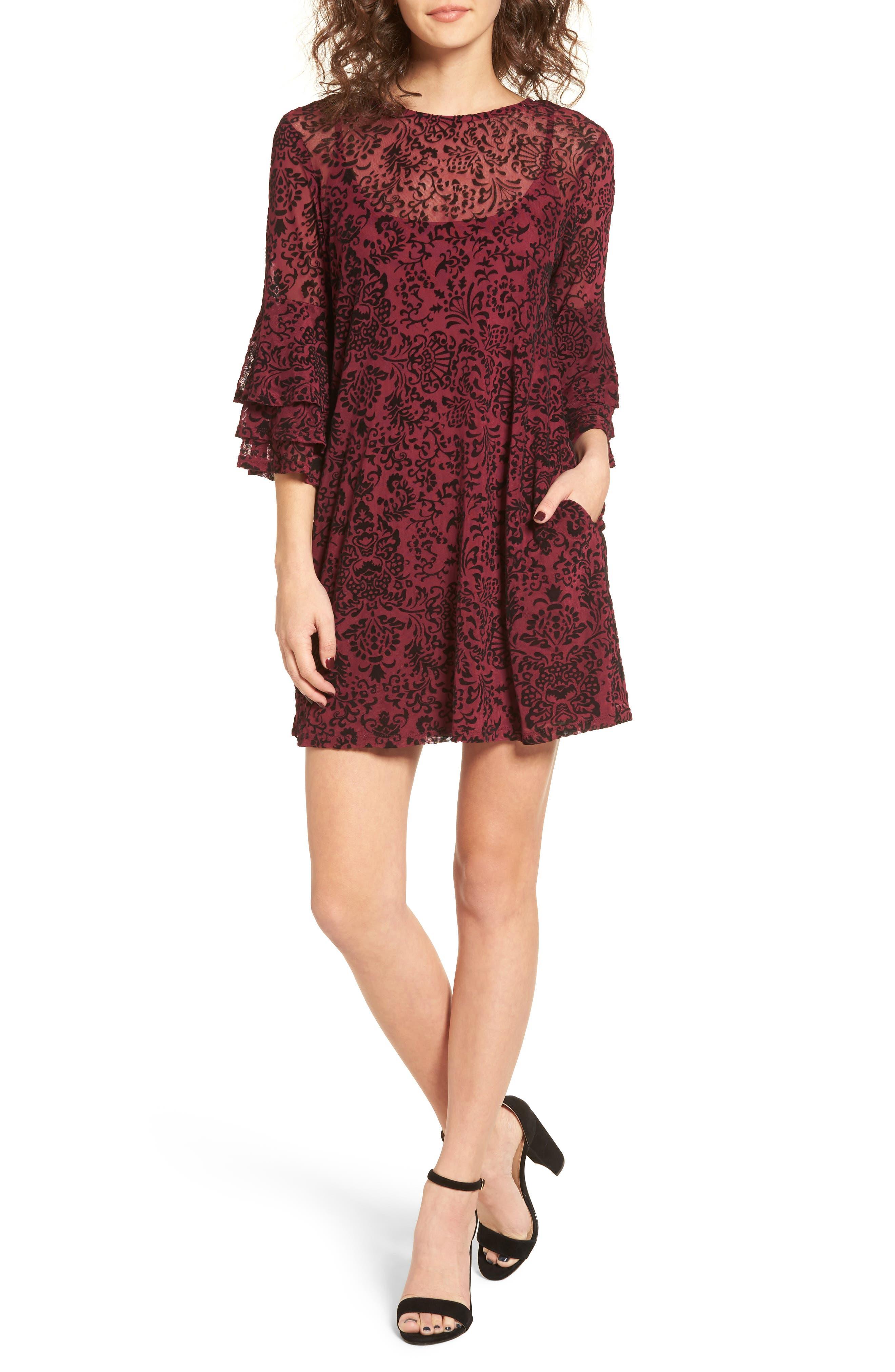 Velvet Detail Minidress,                             Main thumbnail 1, color,                             Burgundy/ Black