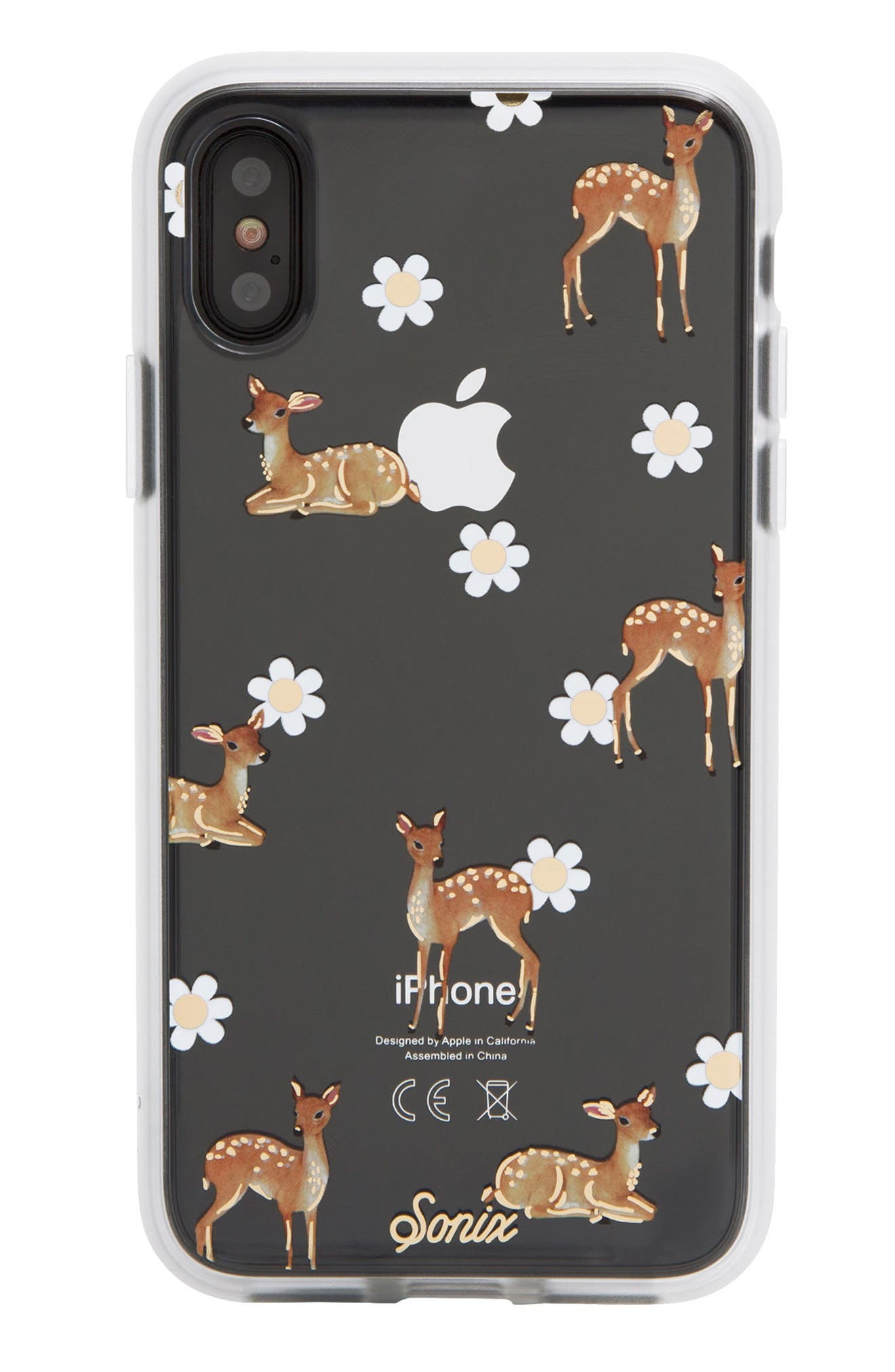Deer Print iPhone X Case,                             Alternate thumbnail 2, color,                             Clear/ Multi