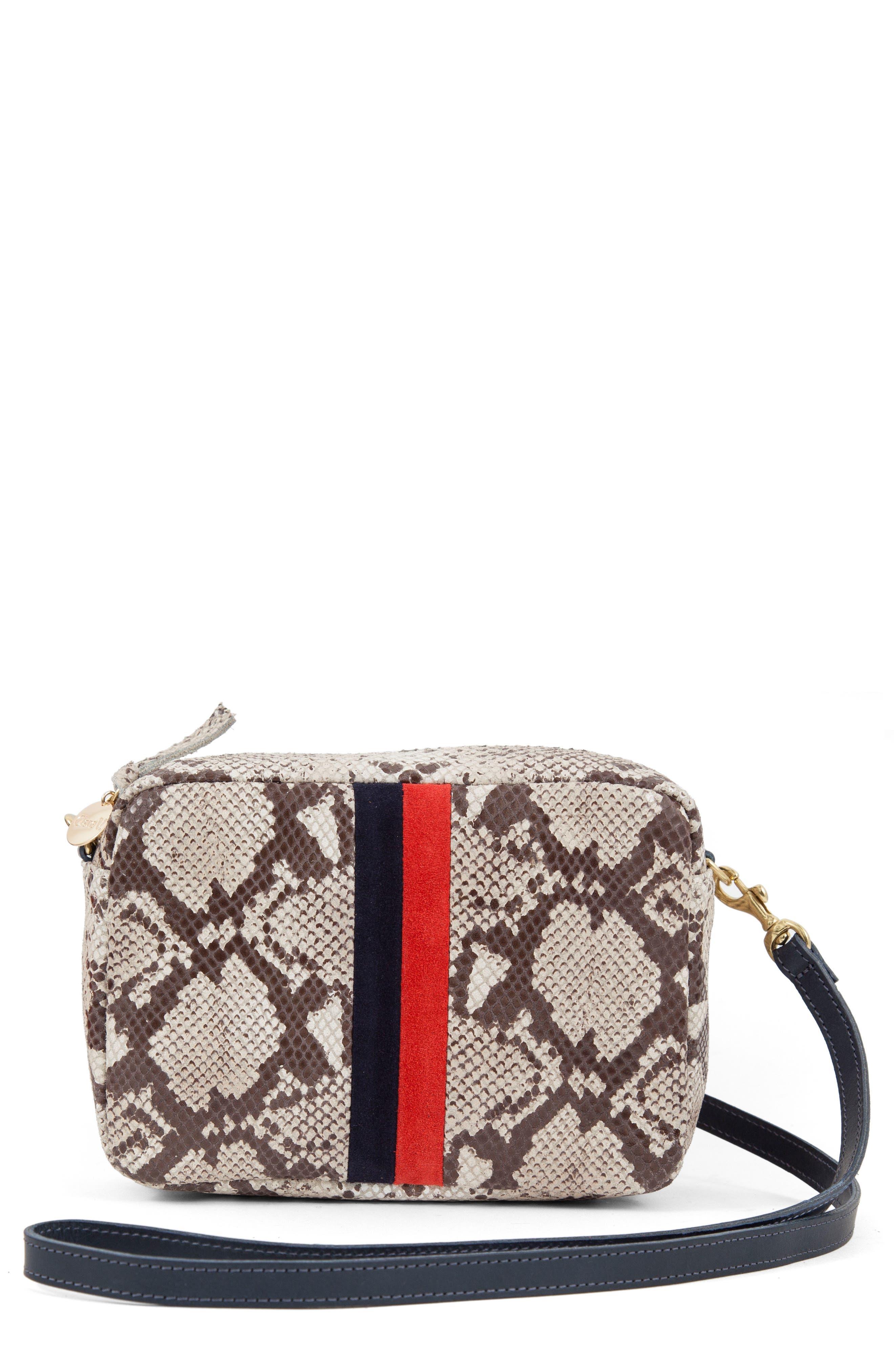 Clare V. Midi Sac Snakeskin Embossed Leather Crossbody Bag