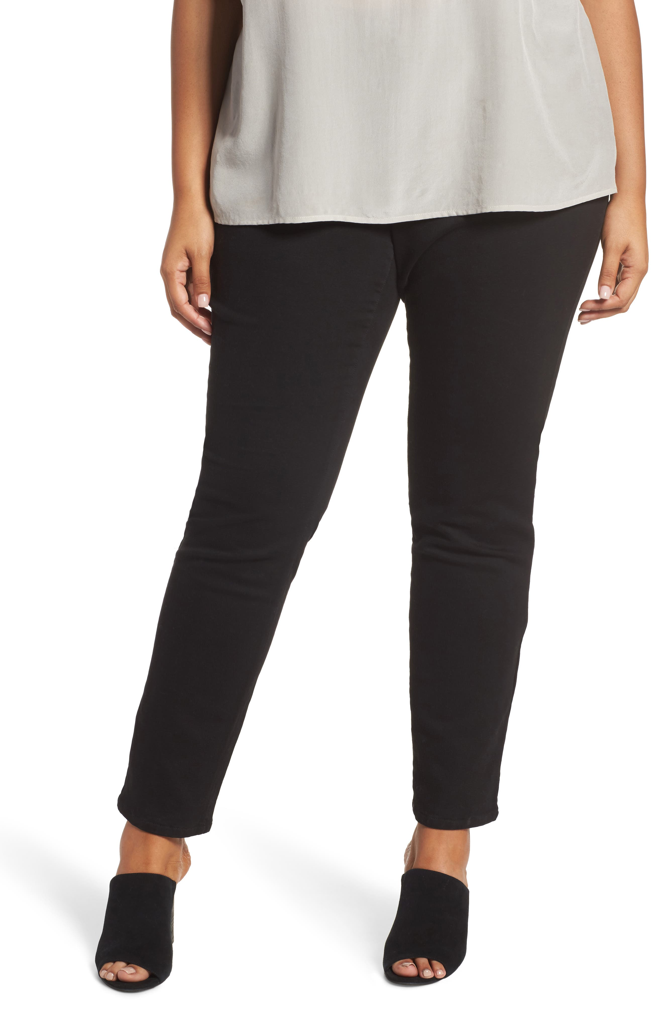Alternate Image 1 Selected - Eileen Fisher Organic Cotton Skinny Stretch Jeans (Plus Size)