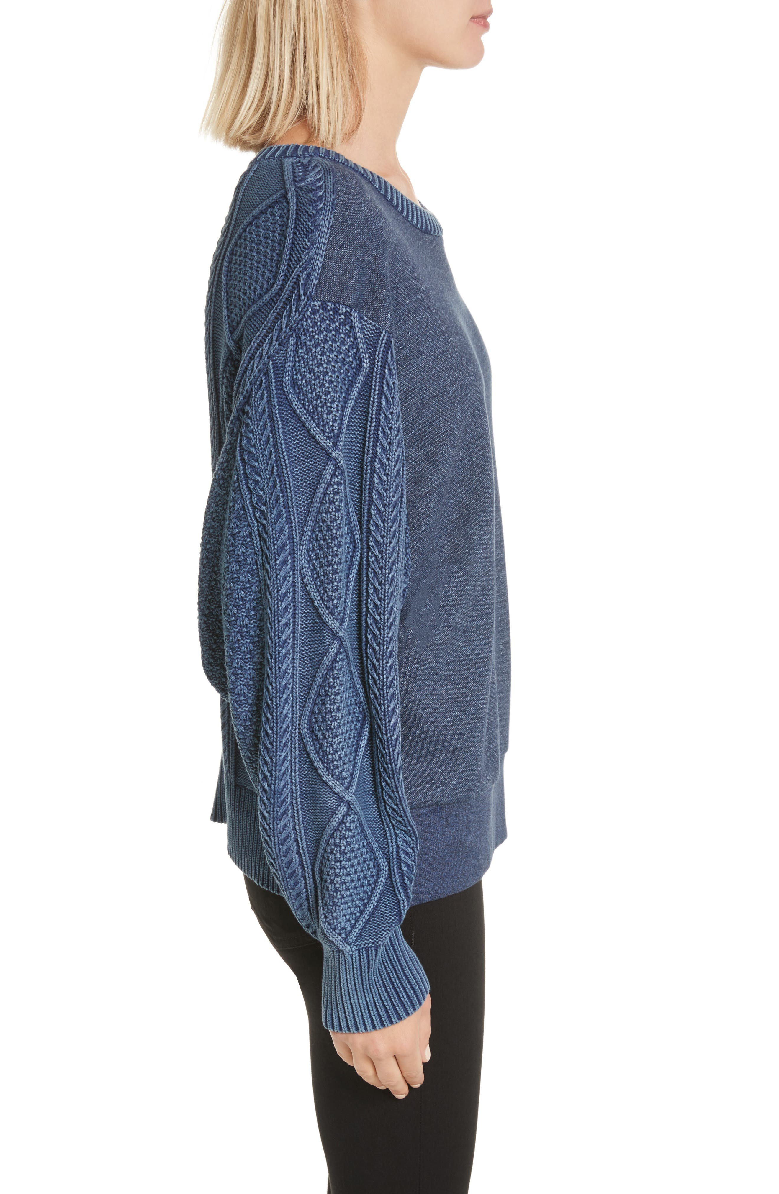 Harper Cable Knit Sweater,                             Alternate thumbnail 3, color,                             Indigo