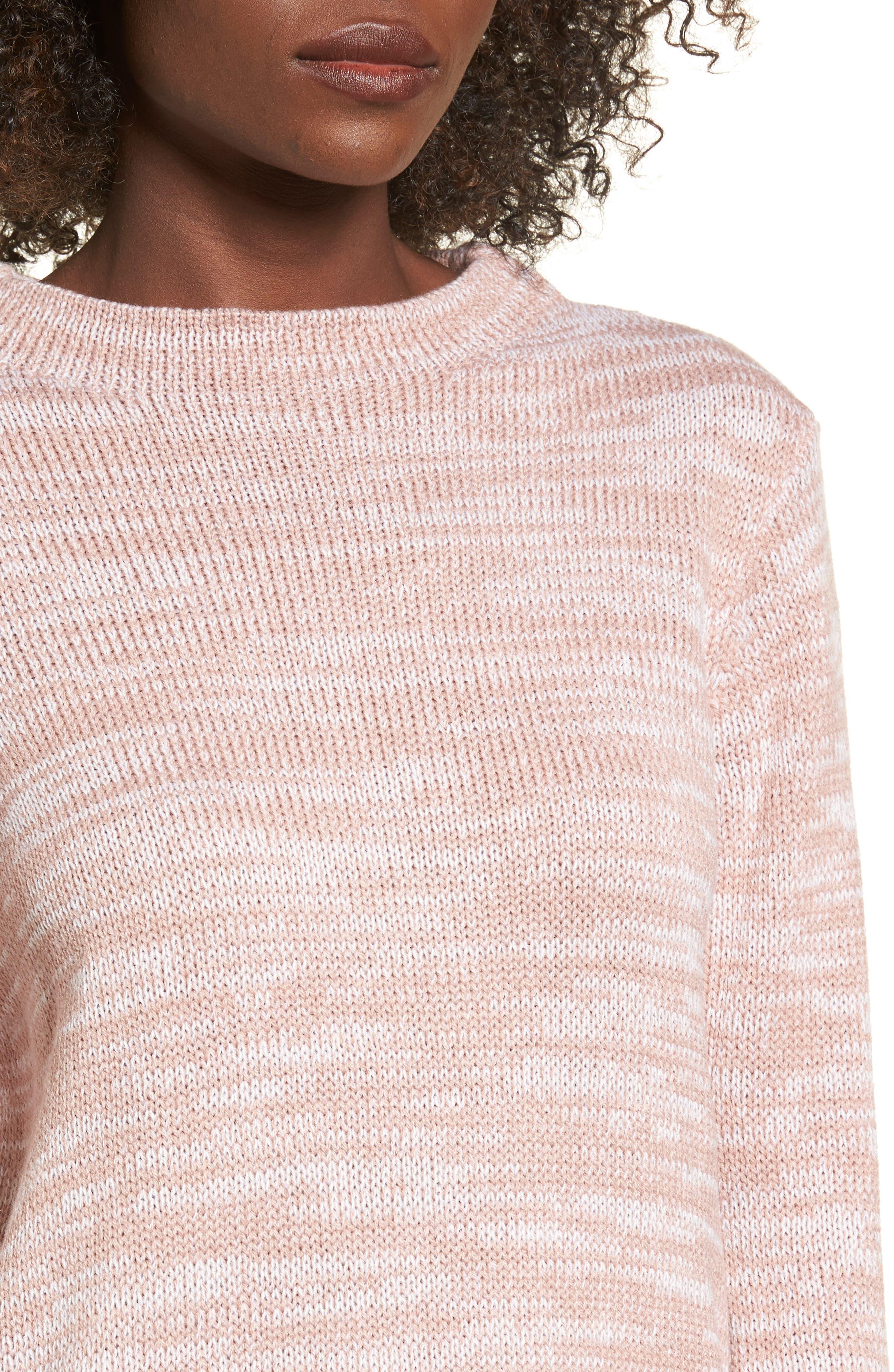 Mock Neck Sweater,                             Alternate thumbnail 4, color,                             Pink Adobe/ Ivory