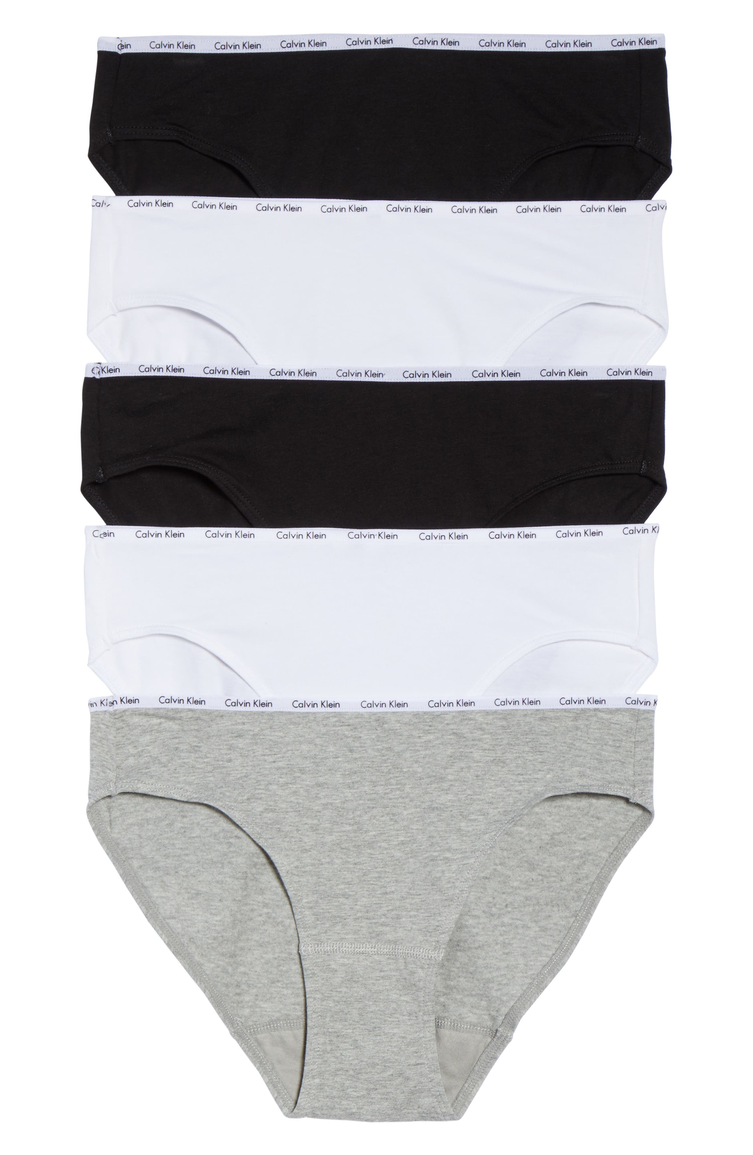 Signature 5-Pack Bikinis,                         Main,                         color, Black/ White/ Grey Heather