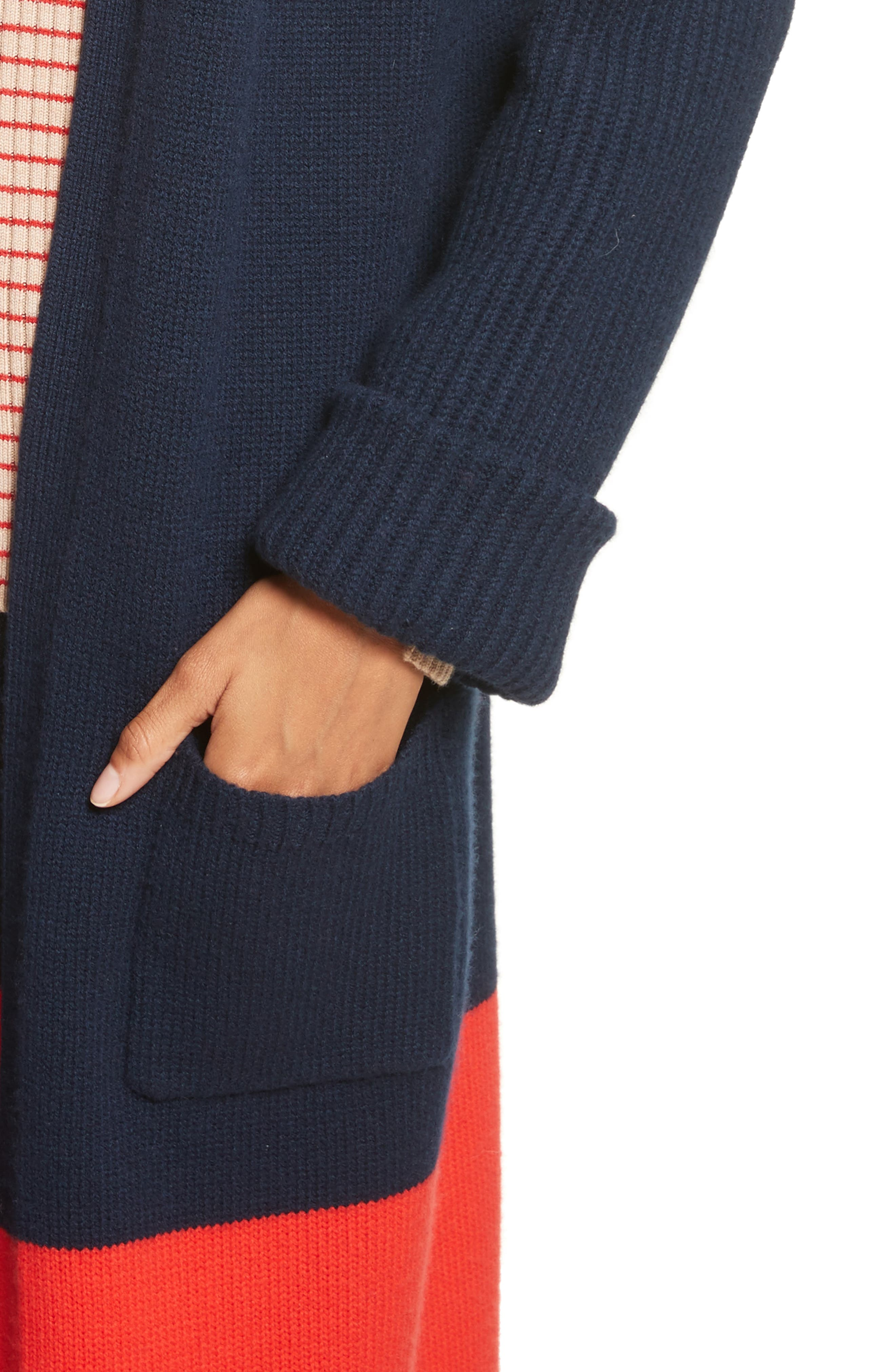 Babur Colorblock Long Wool Cardigan,                             Alternate thumbnail 4, color,                             Navy W/ Red