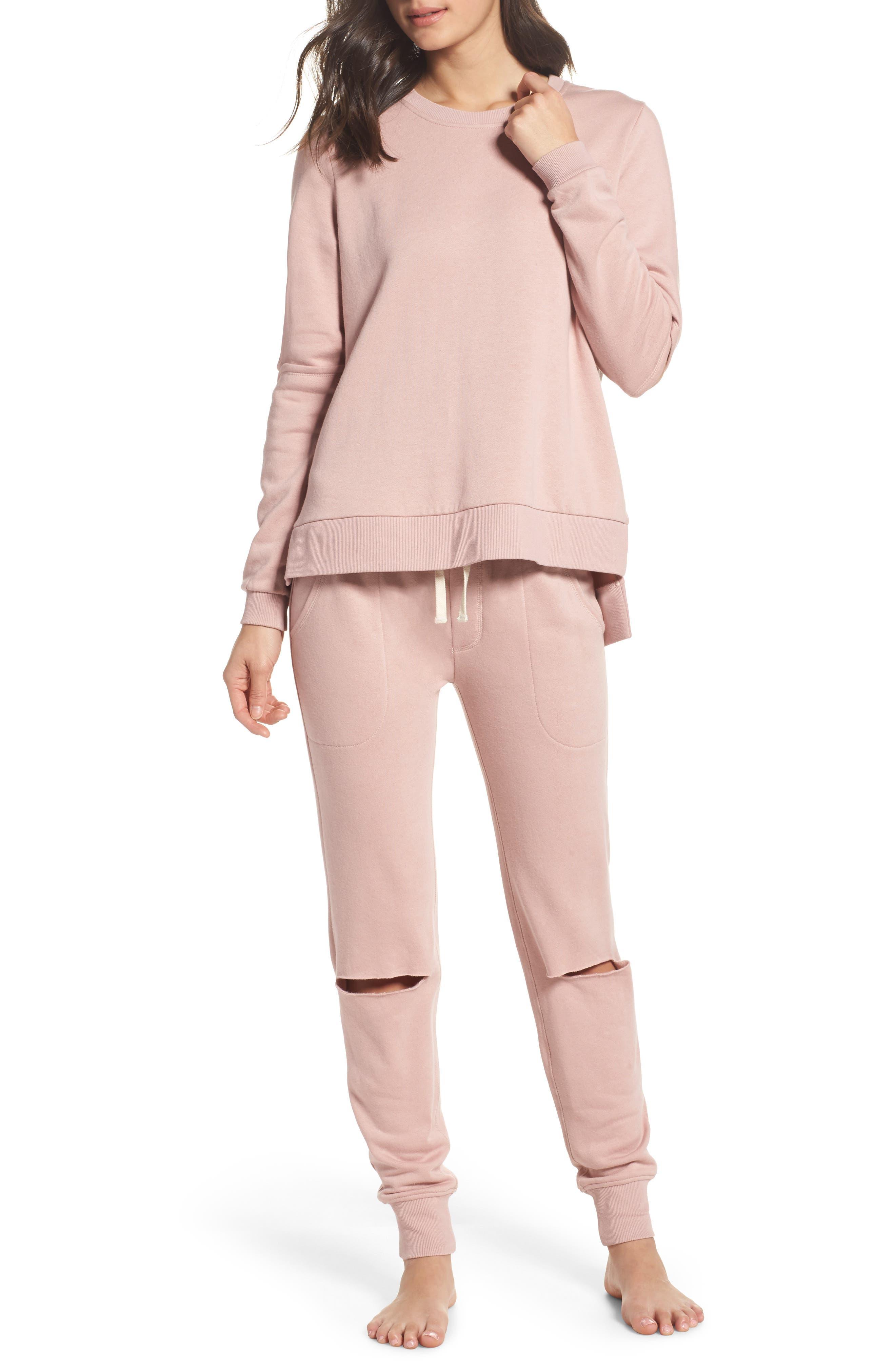 Cutout Sweatshirt,                             Alternate thumbnail 6, color,                             Rose Quartz