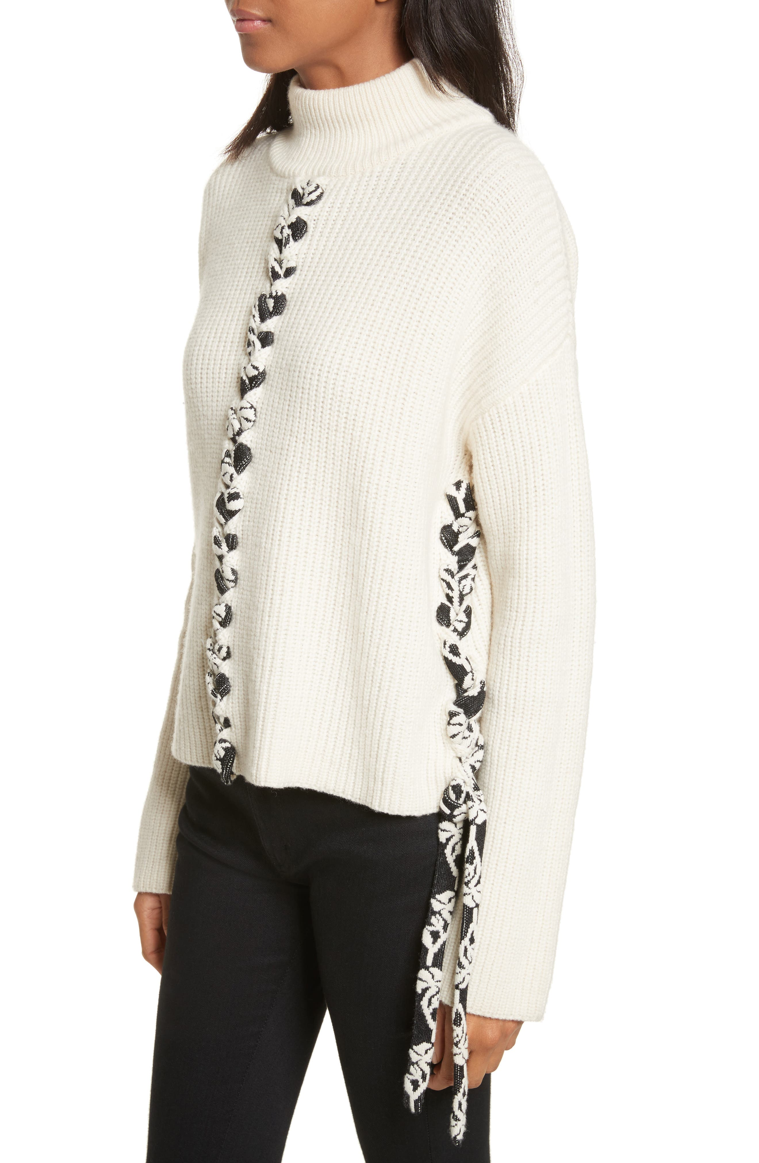 Mughal Lace-Up Sweater,                             Alternate thumbnail 3, color,                             Off White W/ Jacquard Ties