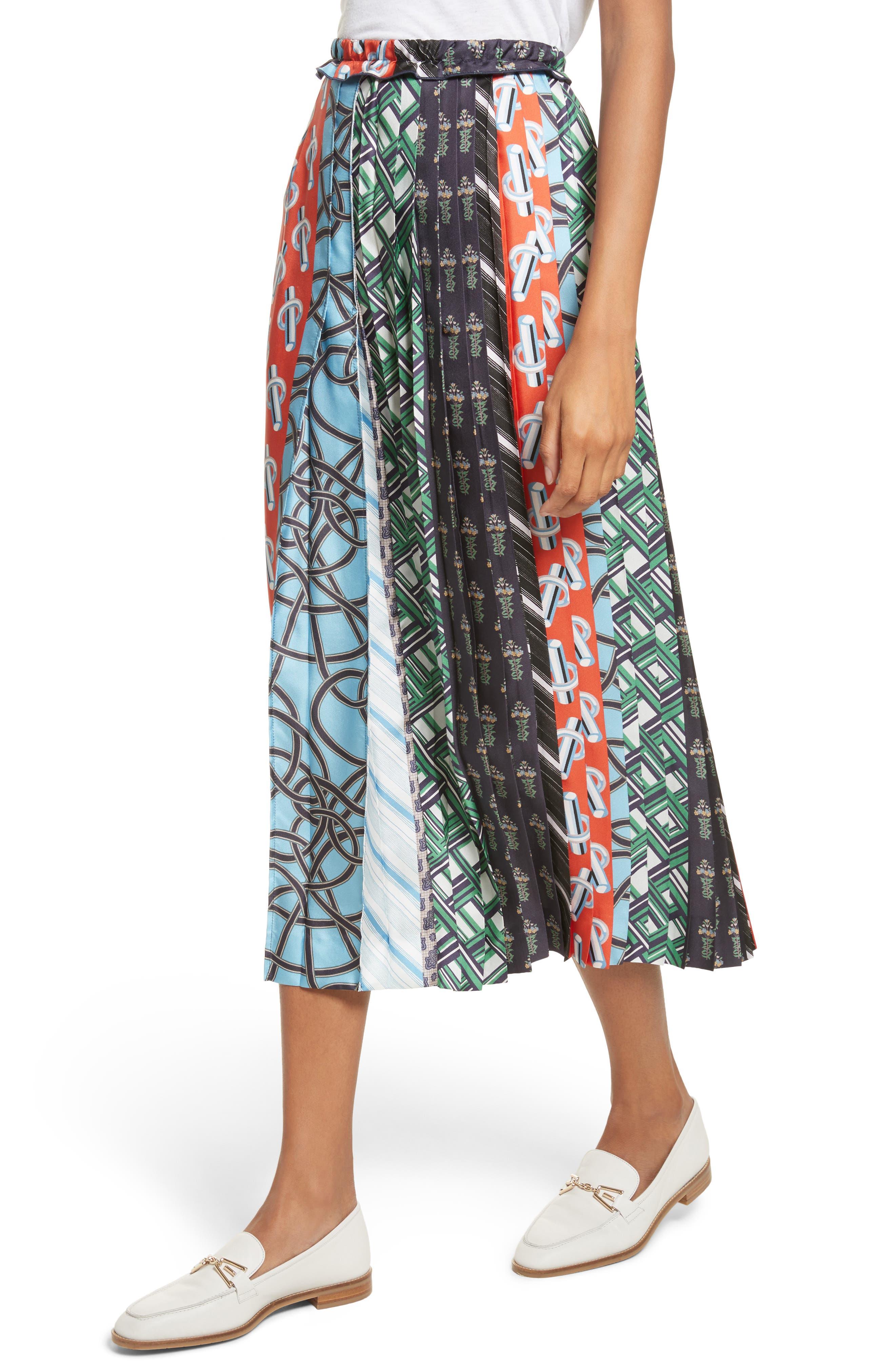 Pleated Mix Print Silk Skirt,                             Alternate thumbnail 4, color,                             Multicolore