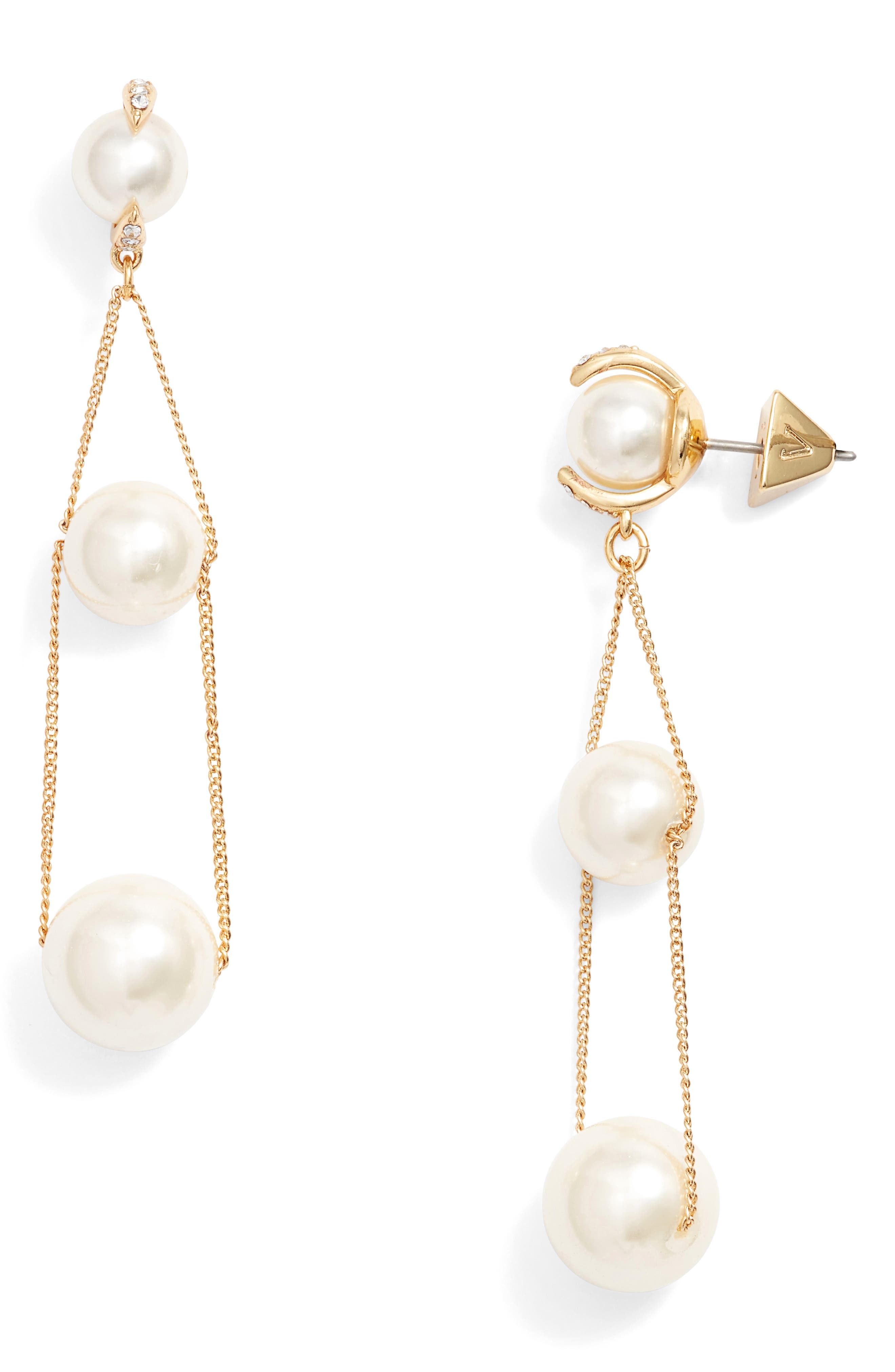 Imitation Pearl Drop Earrings,                         Main,                         color, Gold
