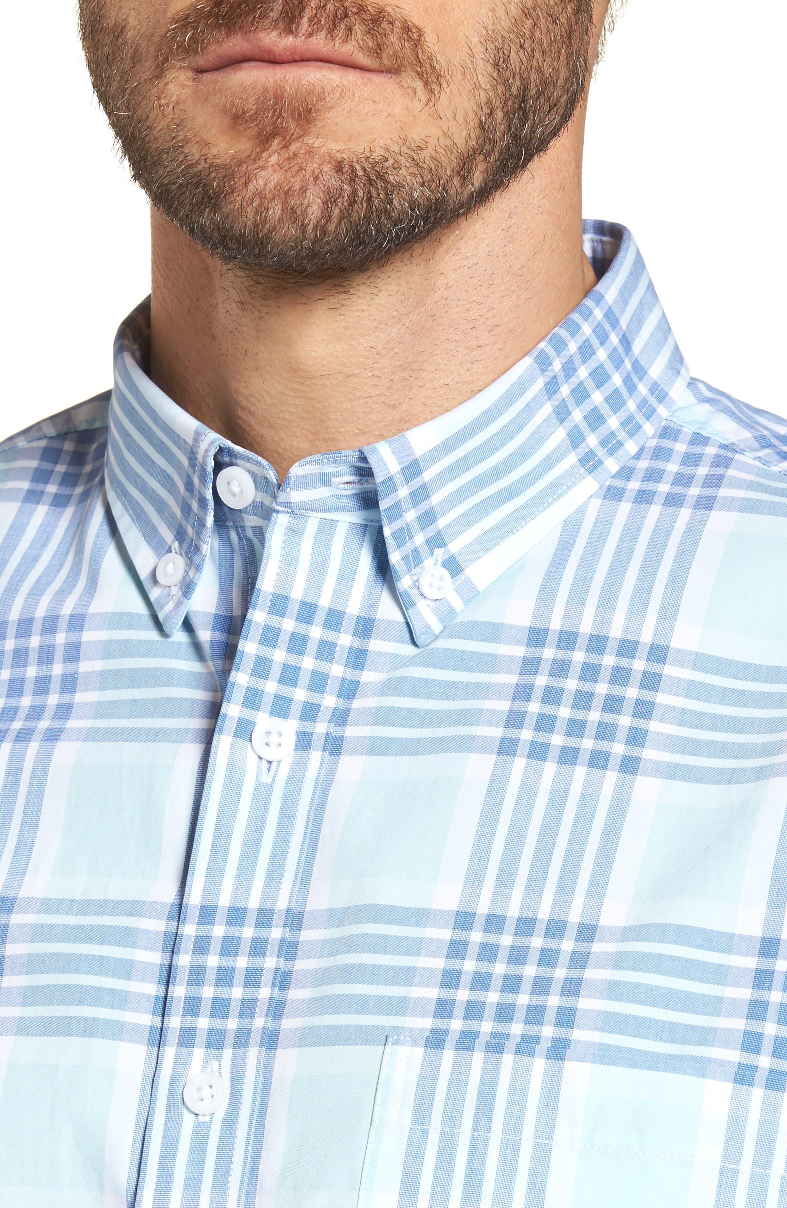 Trim Fit Washed Plaid Sport Shirt,                             Alternate thumbnail 2, color,                             Blue Aquatic Plaid