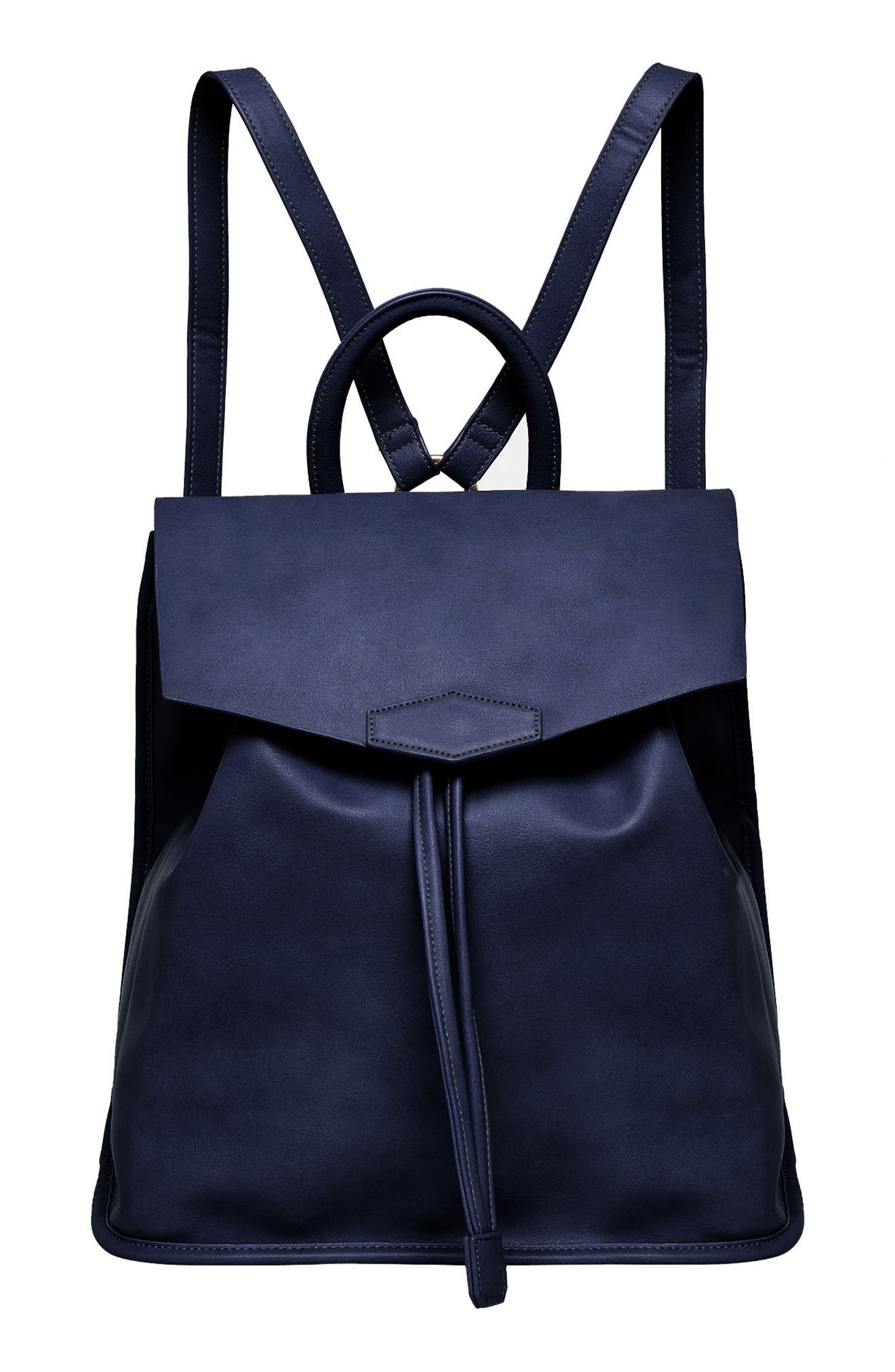 Night Fever Vegan Leather Backpack,                             Main thumbnail 1, color,                             Navy