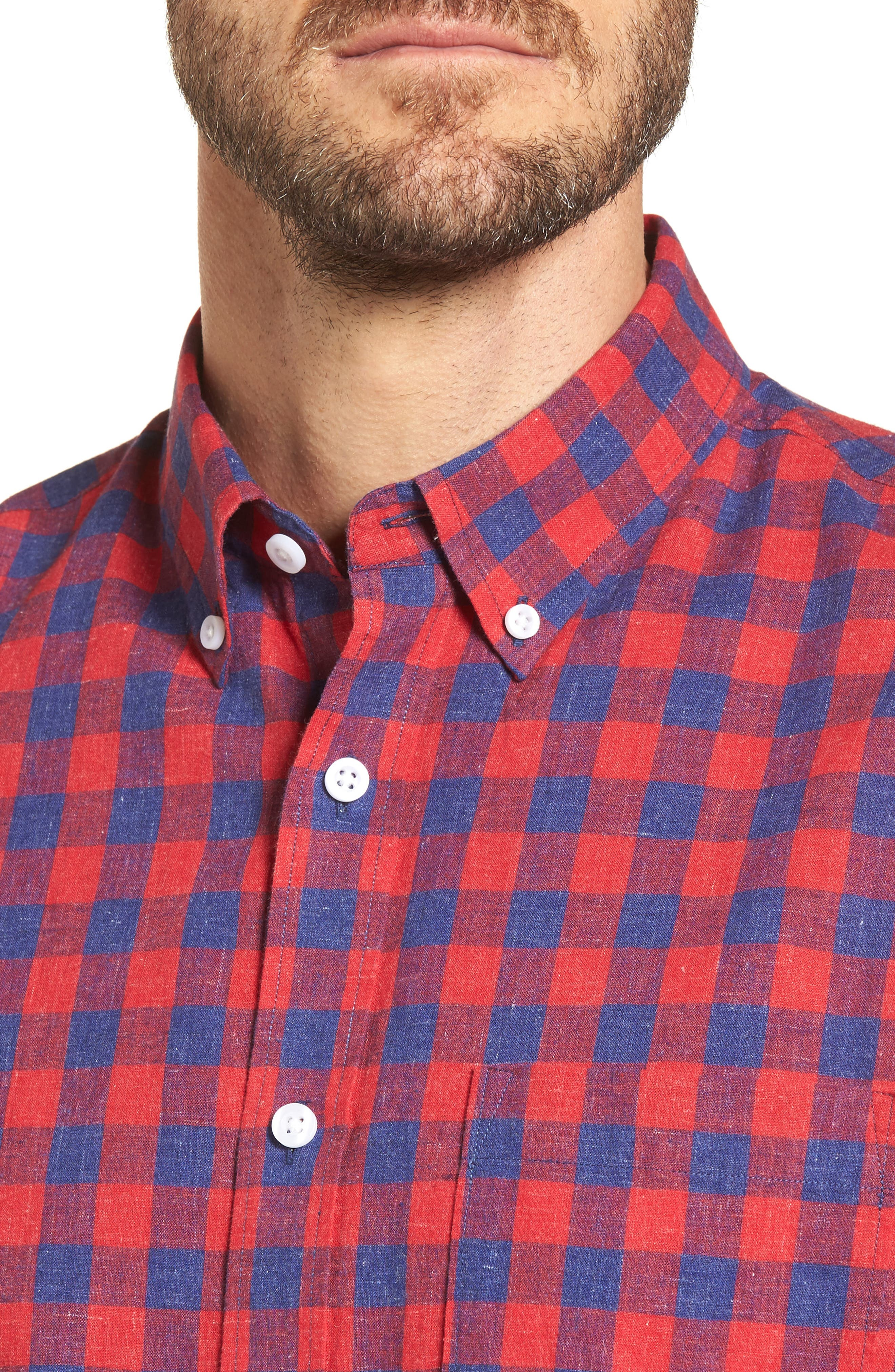 Spade Trim Fit Check Sport Shirt,                             Alternate thumbnail 4, color,                             Red Chili Blue Check
