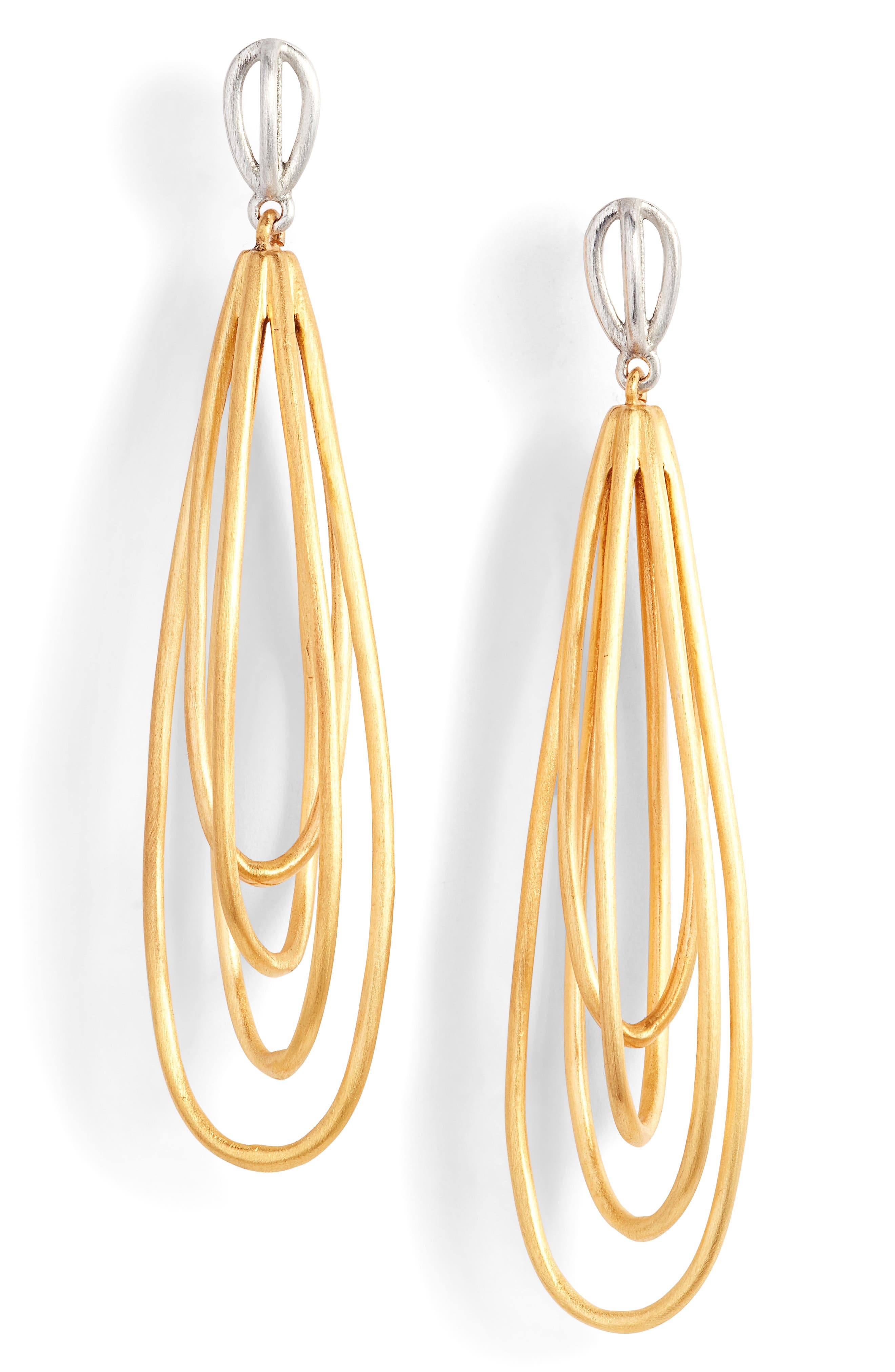 Inerlacing Drop Earrings,                         Main,                         color, Gold/ Silver