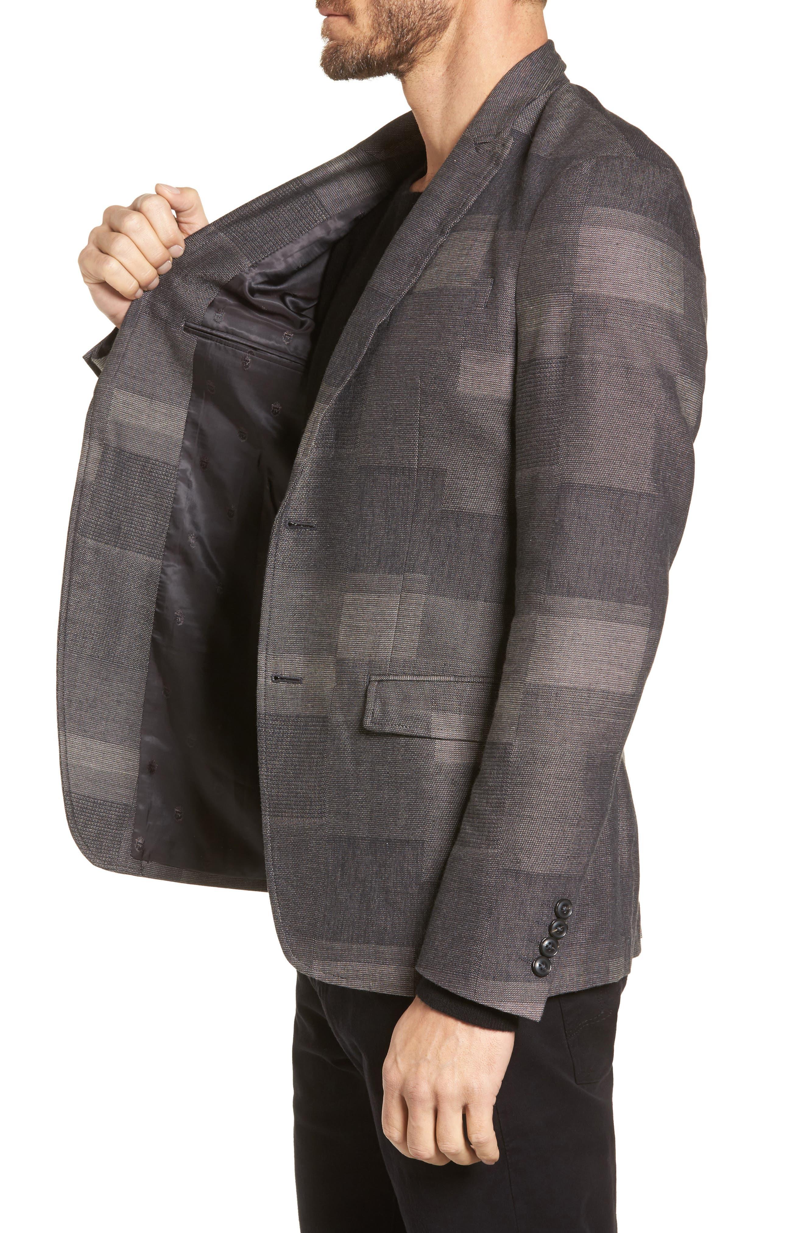 Cotton & Linen Sport Coat,                             Alternate thumbnail 3, color,                             Cement