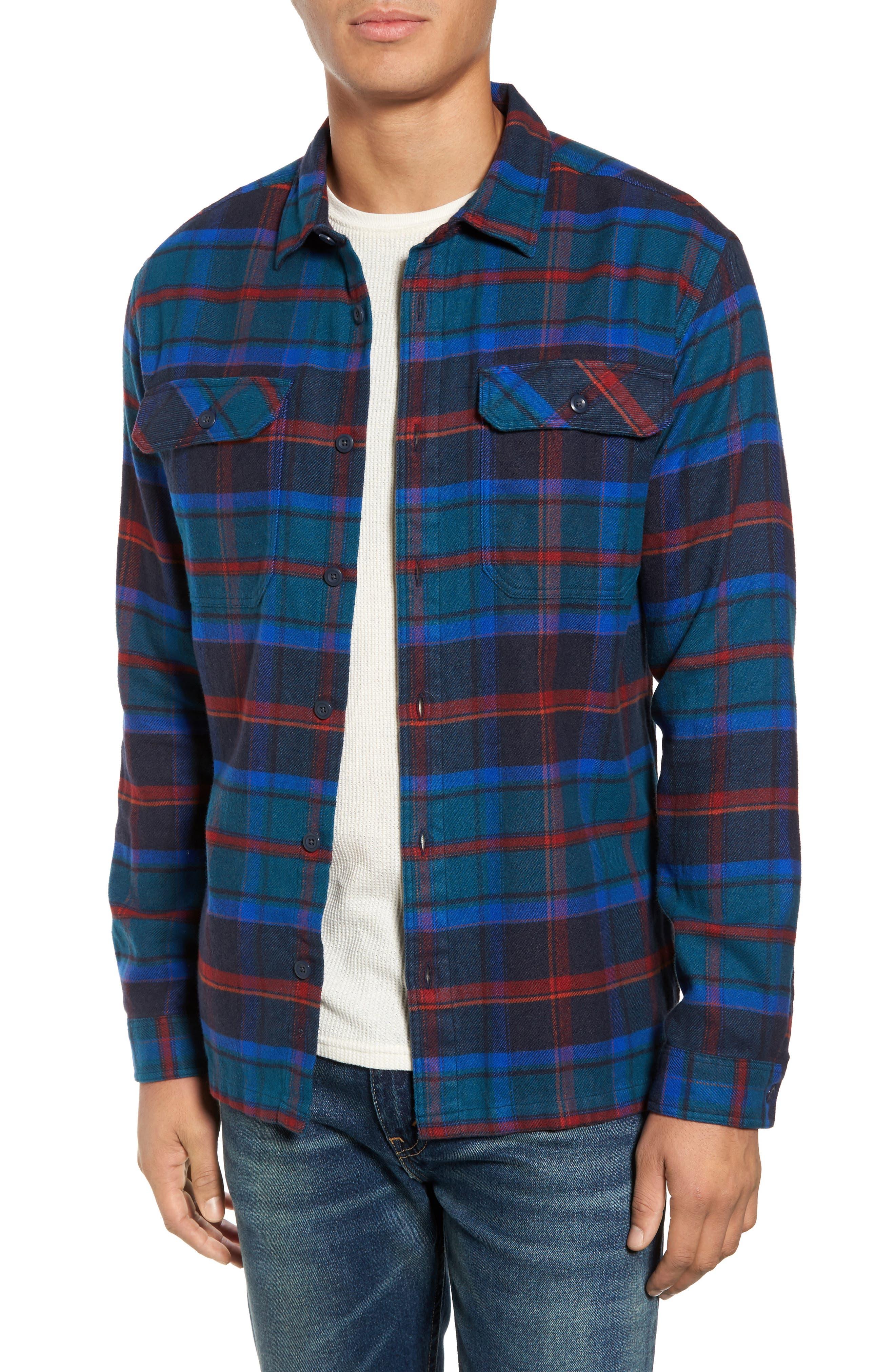 'Fjord' Regular Fit Organic Cotton Flannel Shirt,                             Main thumbnail 1, color,                             Buckstop Plaid Big Sur Blue