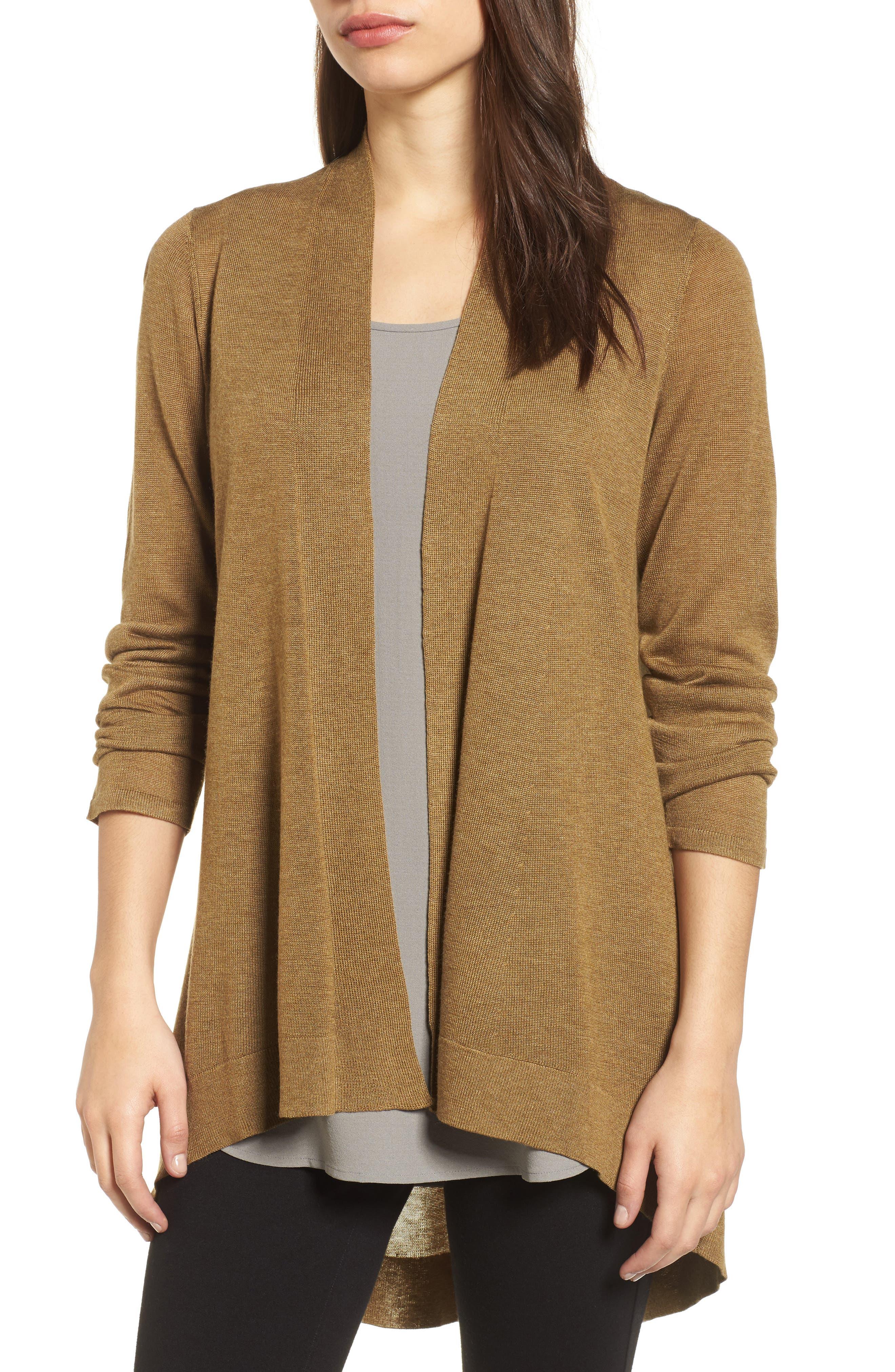 Eileen Fisher Tencel® Lyocell & Merino Wool Shaped Cardigan