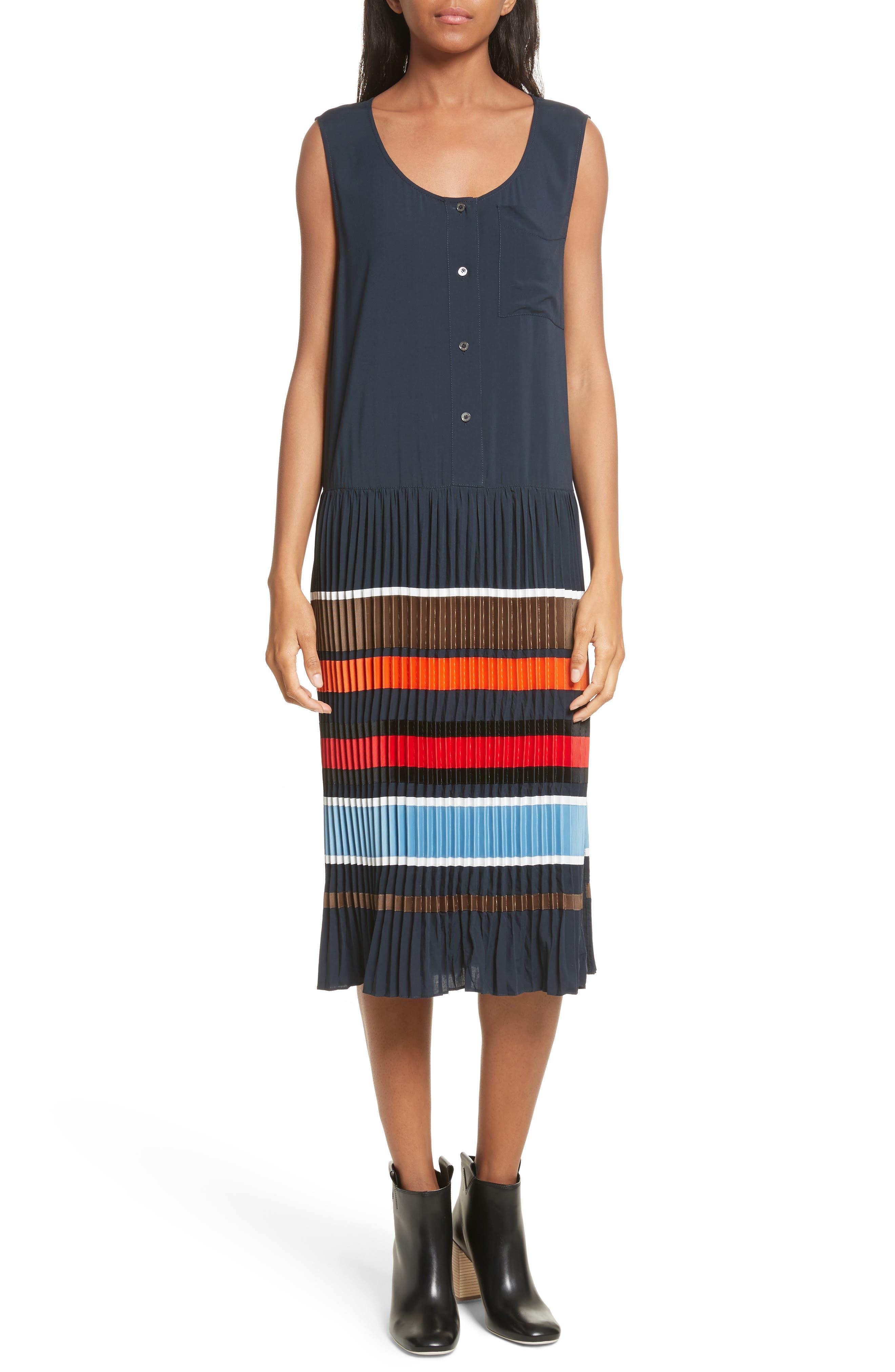 Jama Pleated Stripe Dress,                         Main,                         color, Navy Multi