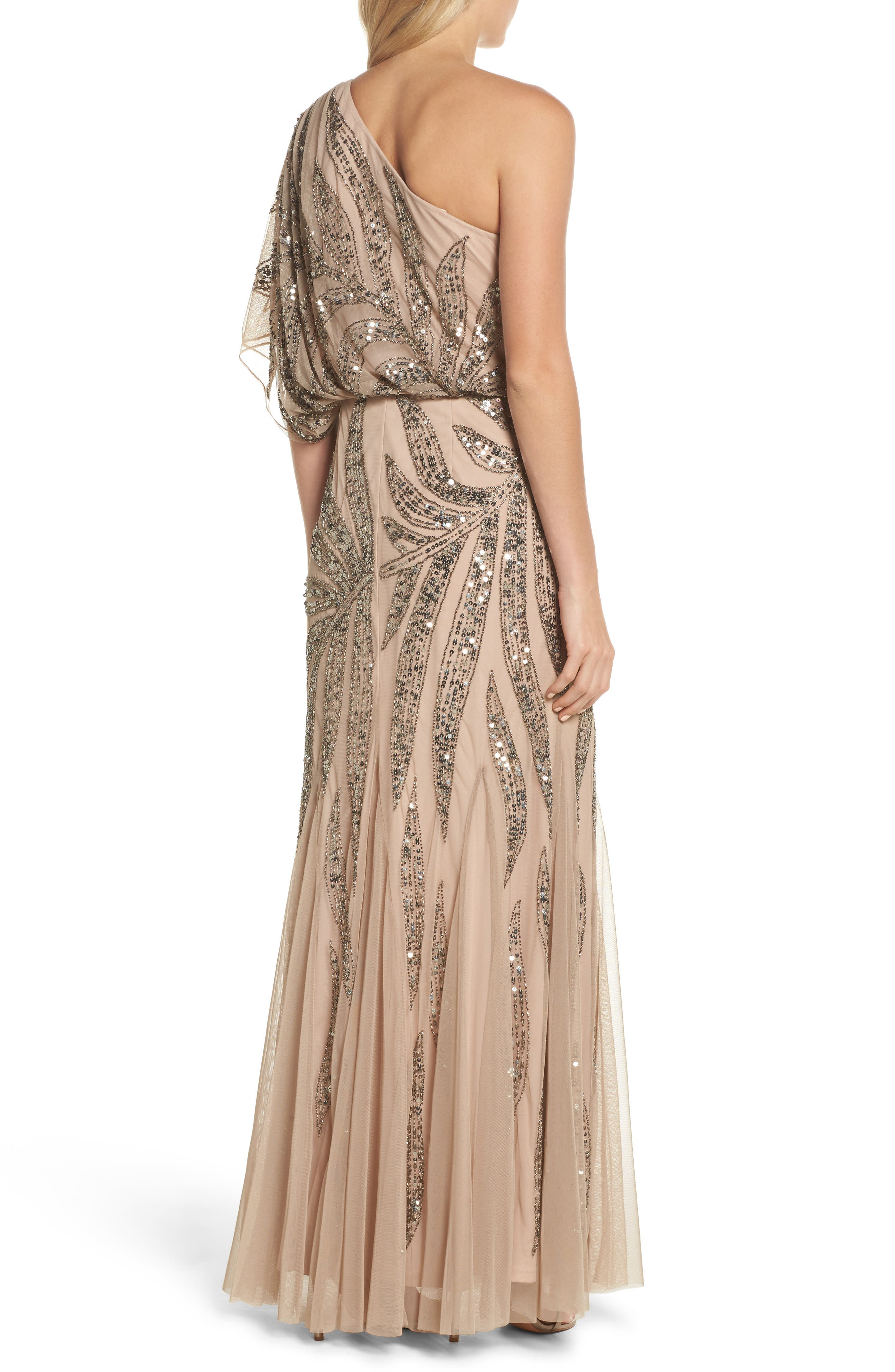 Beaded One-Shoulder Blouson Mesh Gown,                             Alternate thumbnail 2, color,                             Taupe/ Pink