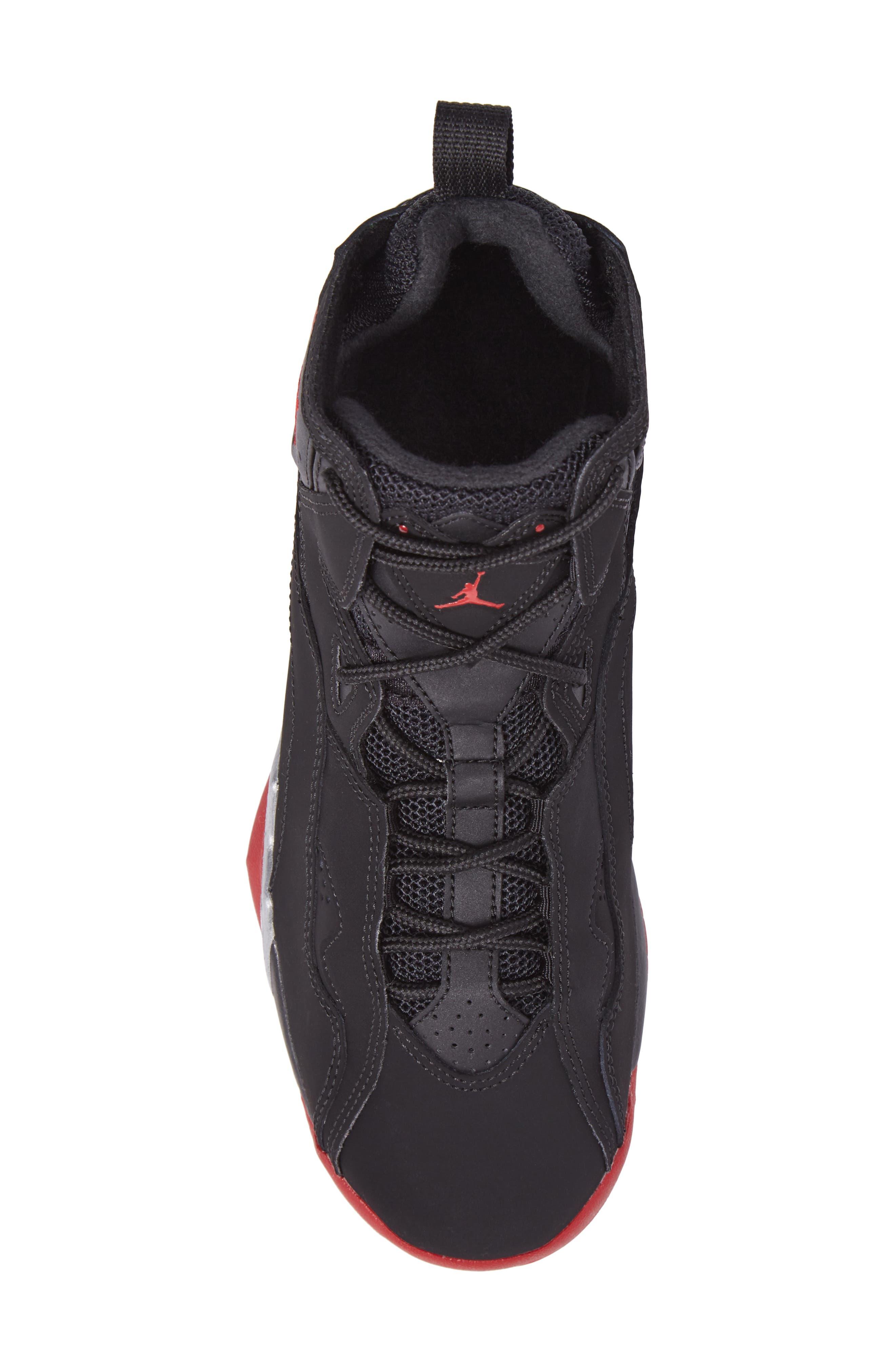 True Flight BG High Top Sneaker,                             Alternate thumbnail 5, color,                             Black/ Gym Red/ Silver