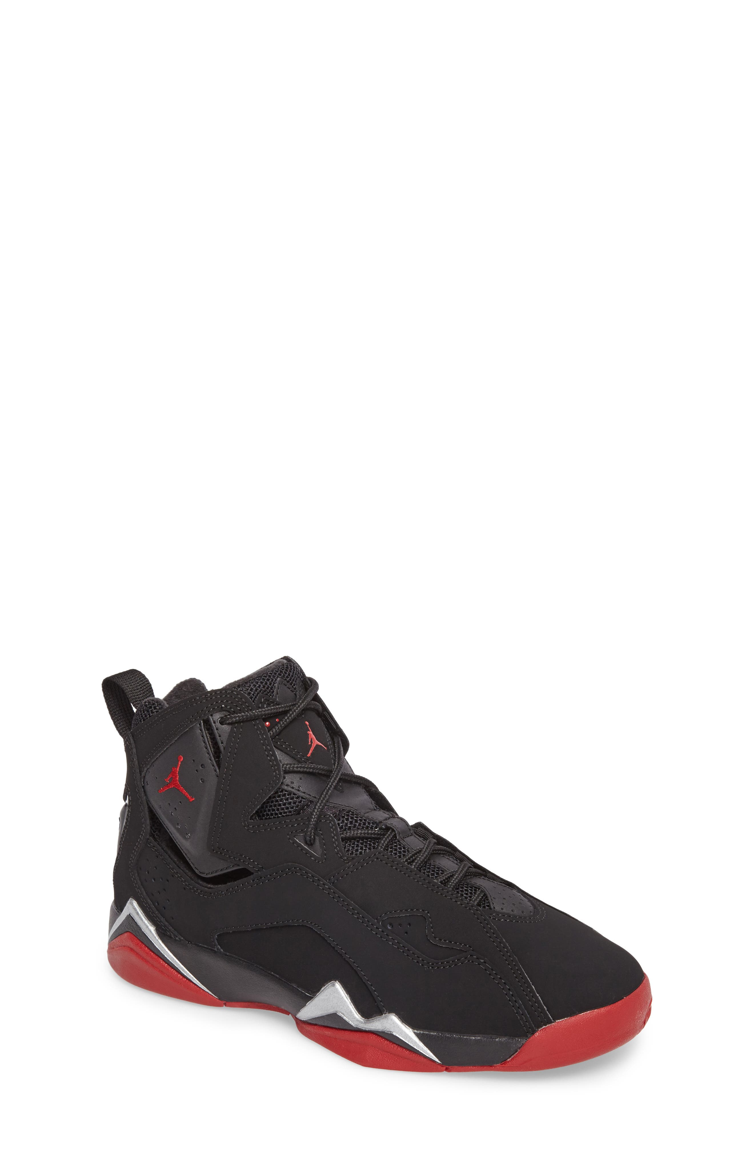 True Flight BG High Top Sneaker,                         Main,                         color, Black/ Gym Red/ Silver