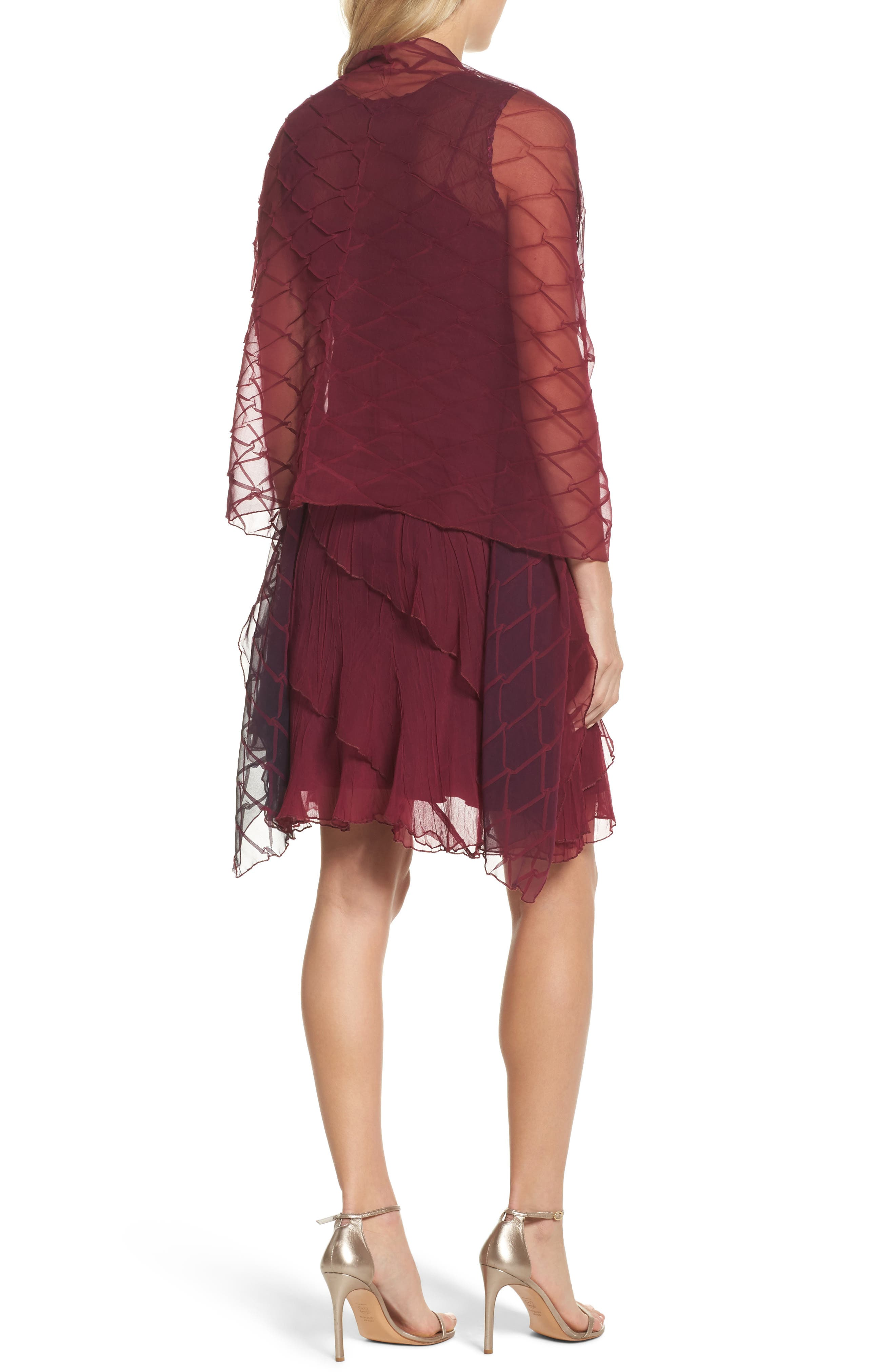 Tiered A-Line Dress with Shawl,                             Alternate thumbnail 2, color,                             Red Plum Night