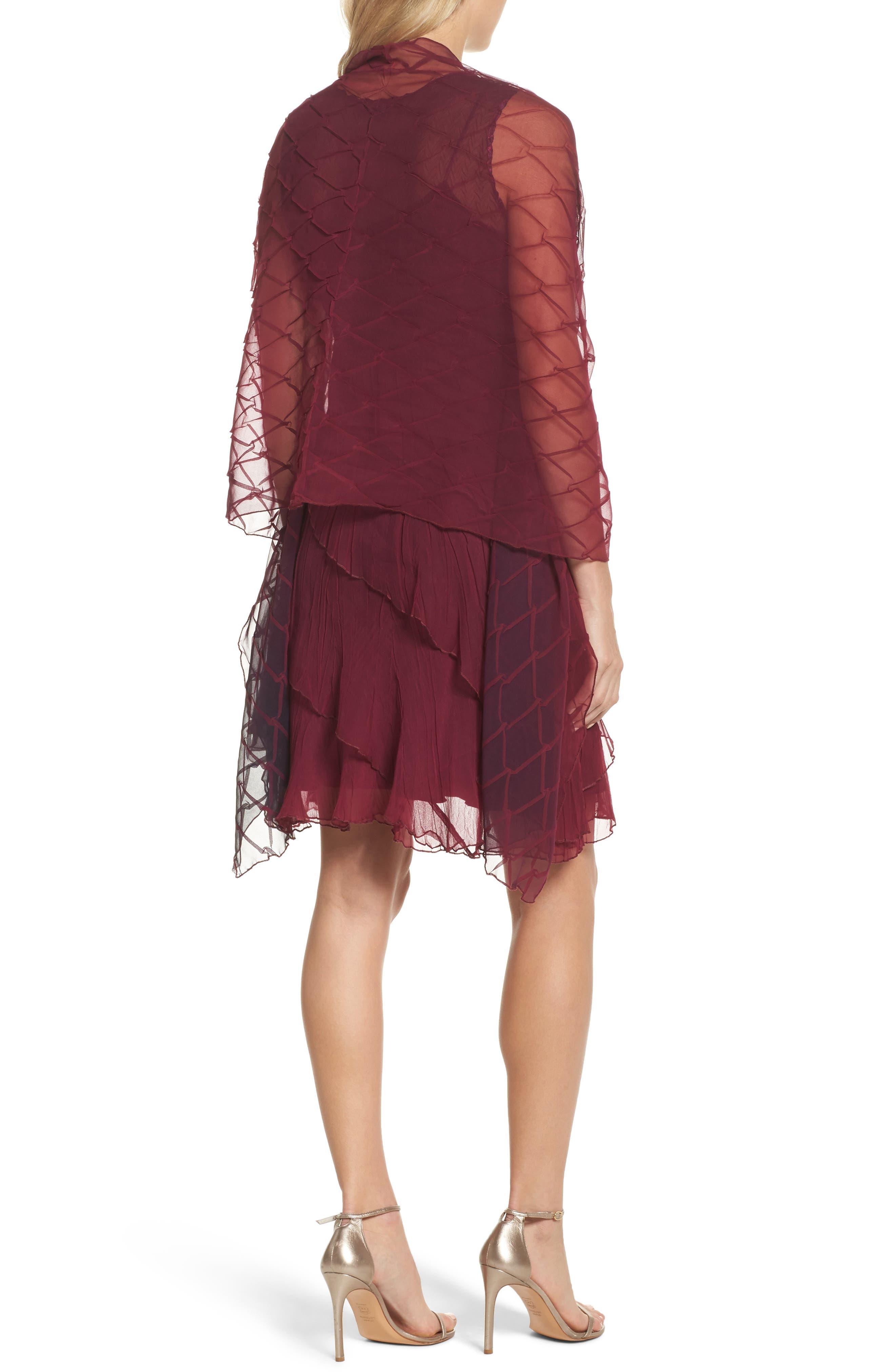 Alternate Image 2  - Komarov Tiered A-Line Dress with Shawl (Regular & Petite)