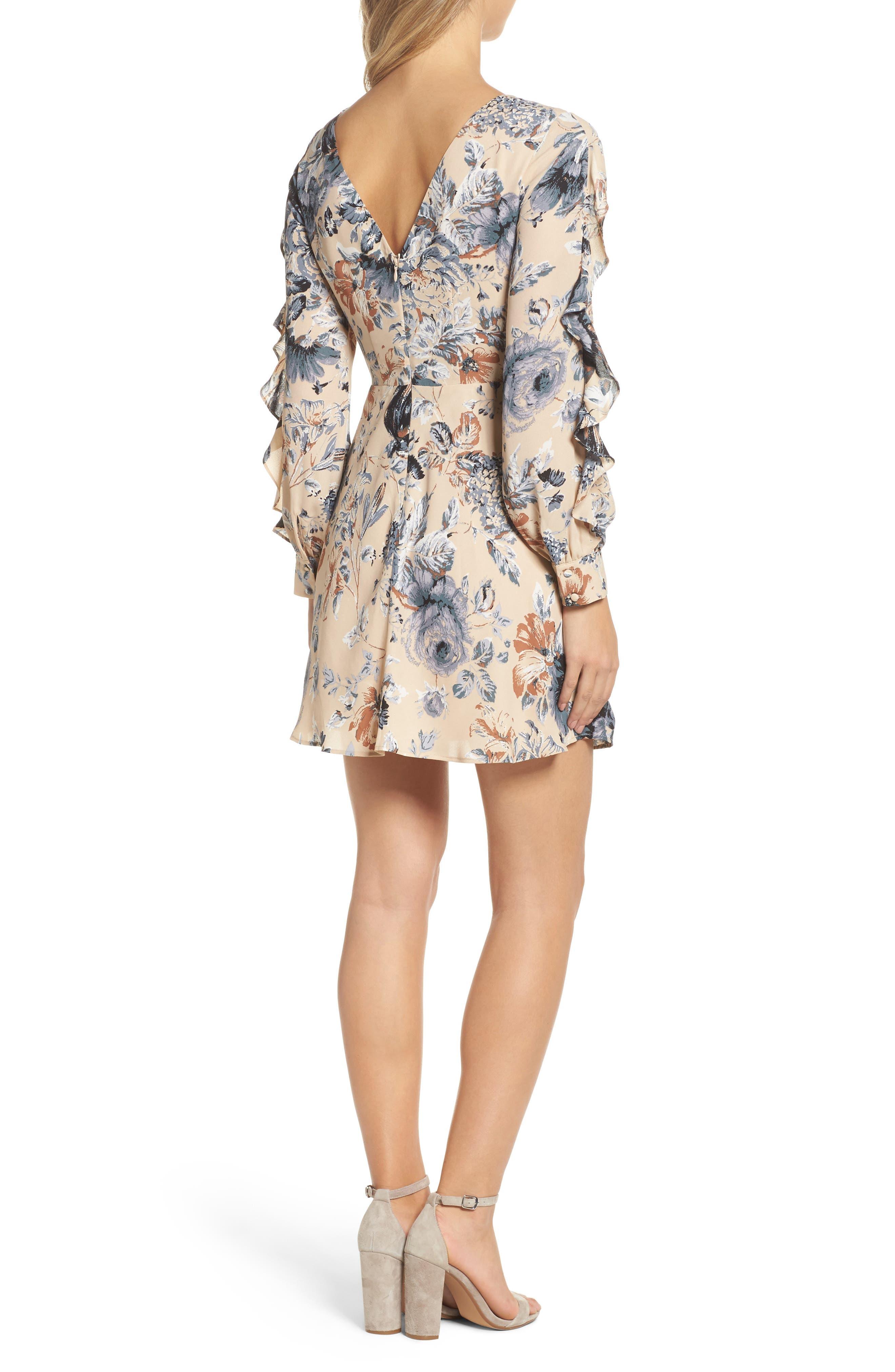 Merci Floral Fit & Flare Dress,                             Alternate thumbnail 2, color,                             Champagne Floral