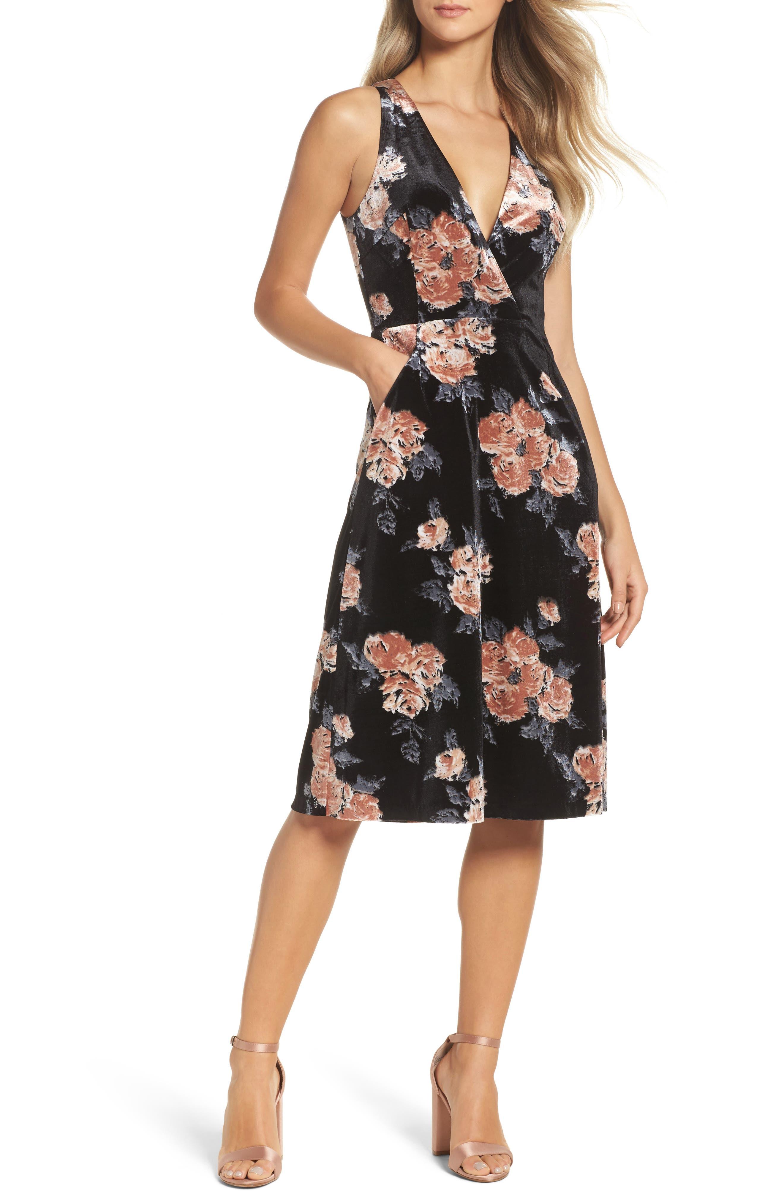 Costes Velvet Fit & Flare Dress,                             Main thumbnail 1, color,                             Black Rosettes
