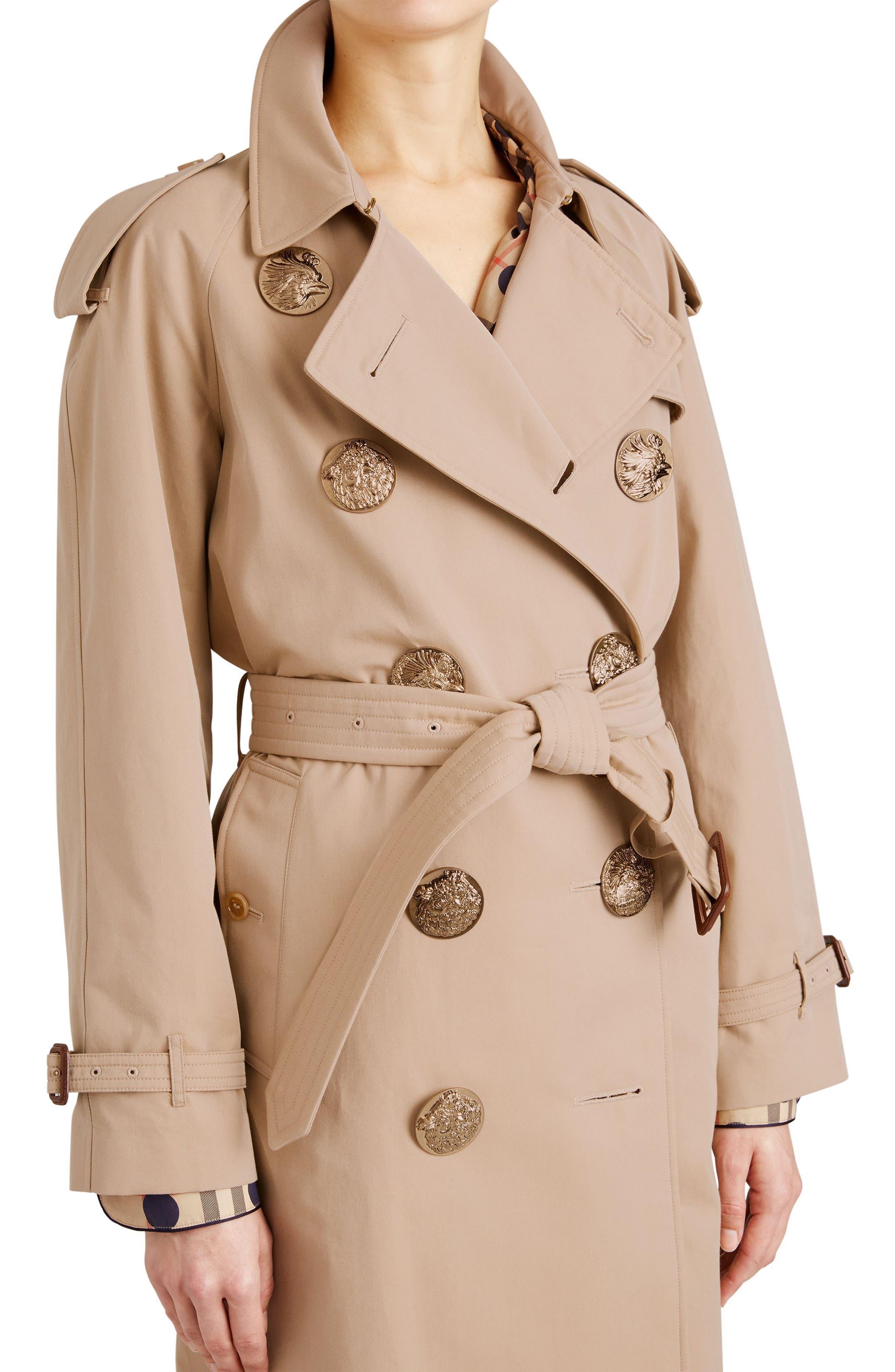 Eastheath Bird Button Cotton Trench Coat,                             Alternate thumbnail 5, color,                             Honey