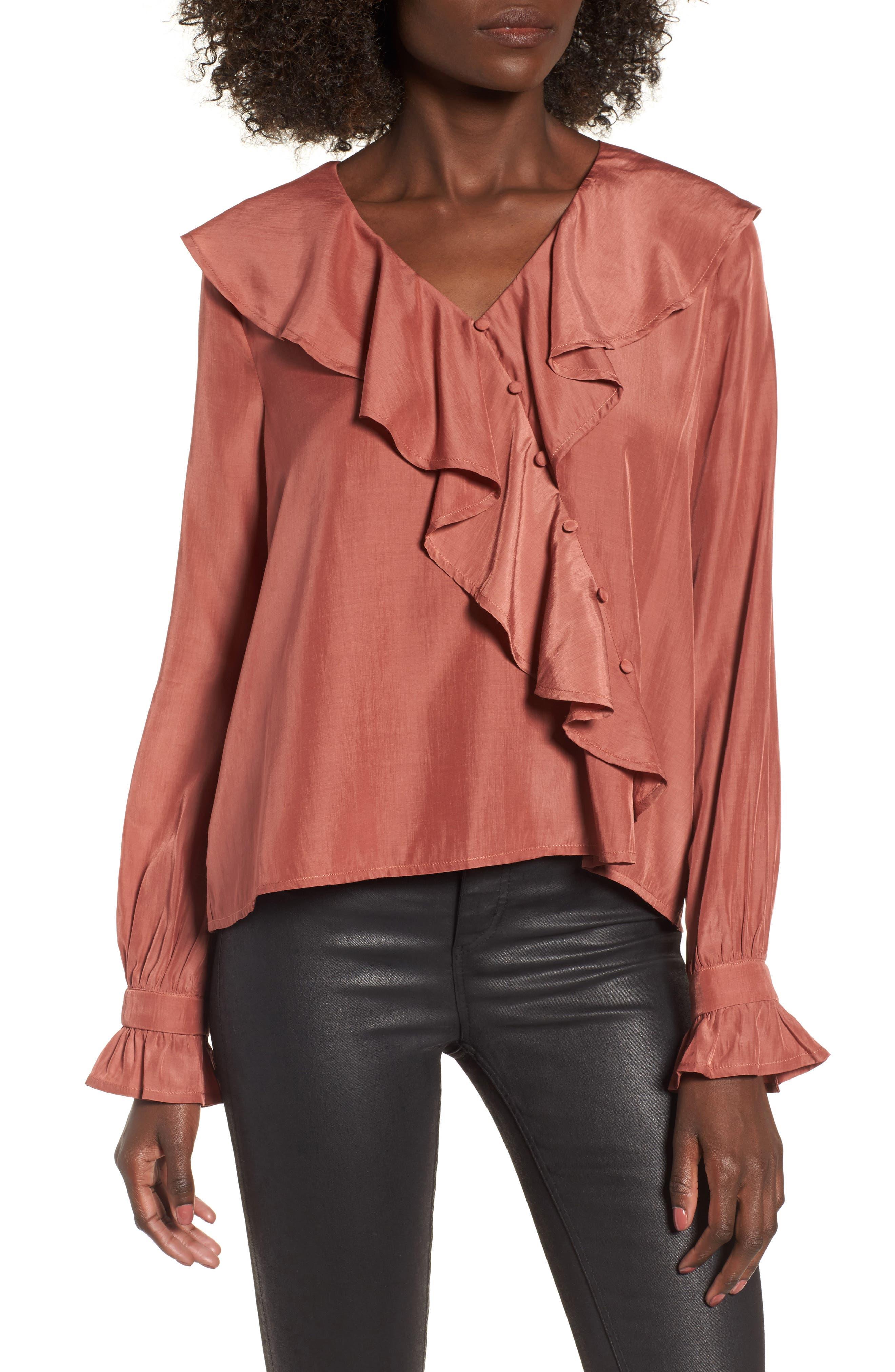 Unbalanced Ruffle Top,                         Main,                         color, Mauvewood