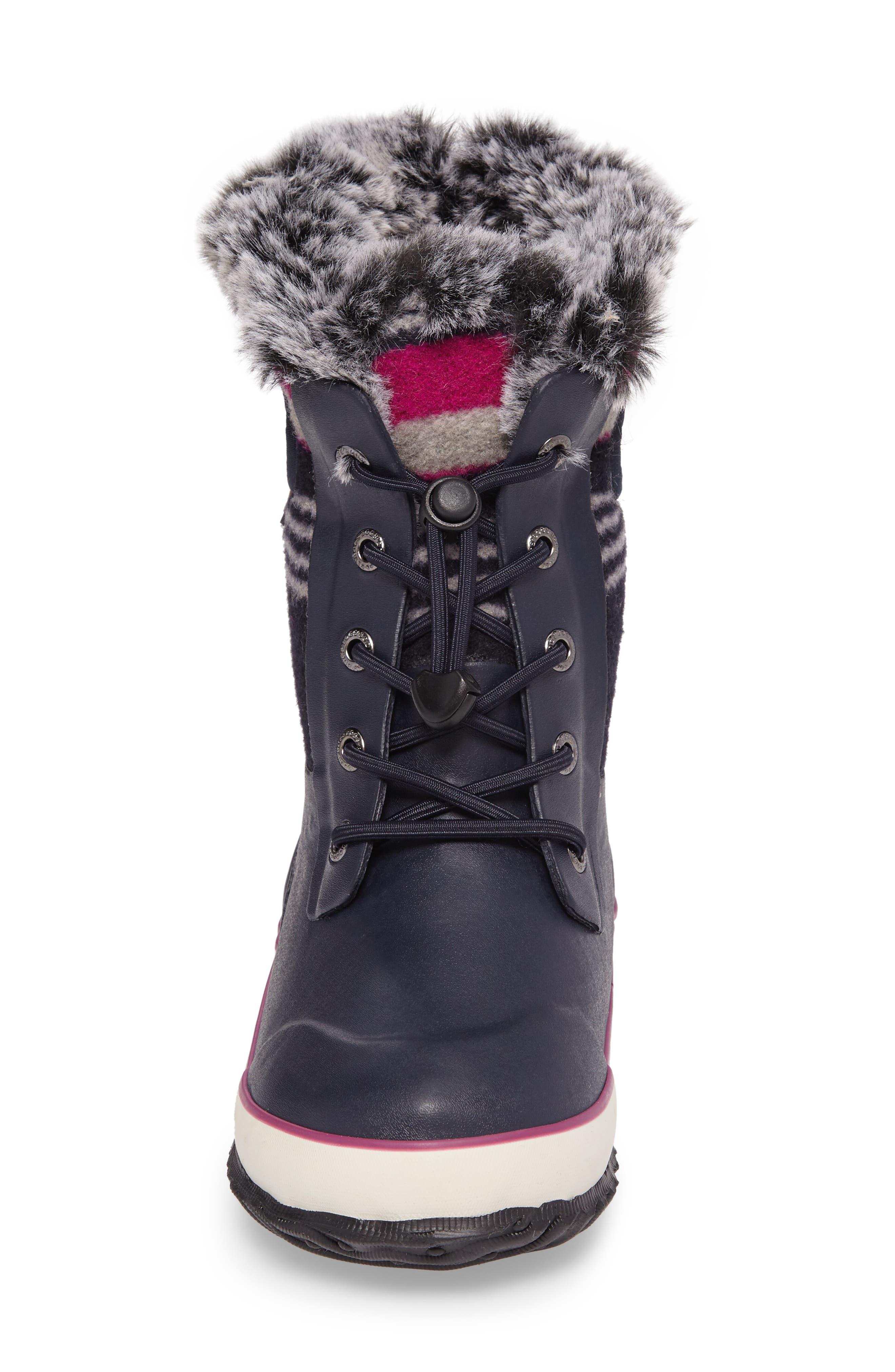 Alternate Image 4  - Bogs Arcata Stripe Waterproof Insulated Faux Fur Boot (Walker, Toddler, Little Kid & Big Kid)
