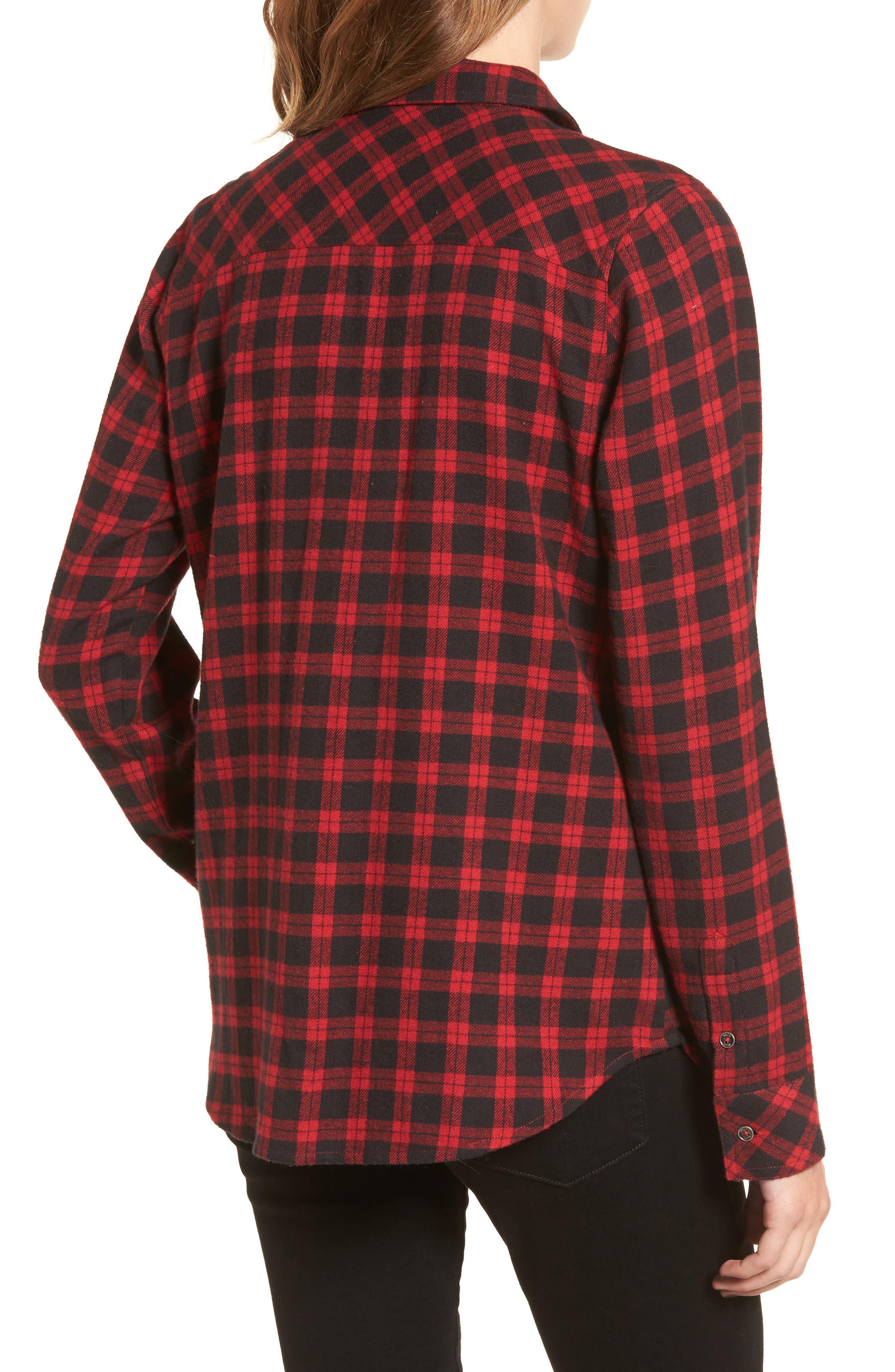 Rhea Check Flannel Shirt,                             Alternate thumbnail 2, color,                             Red