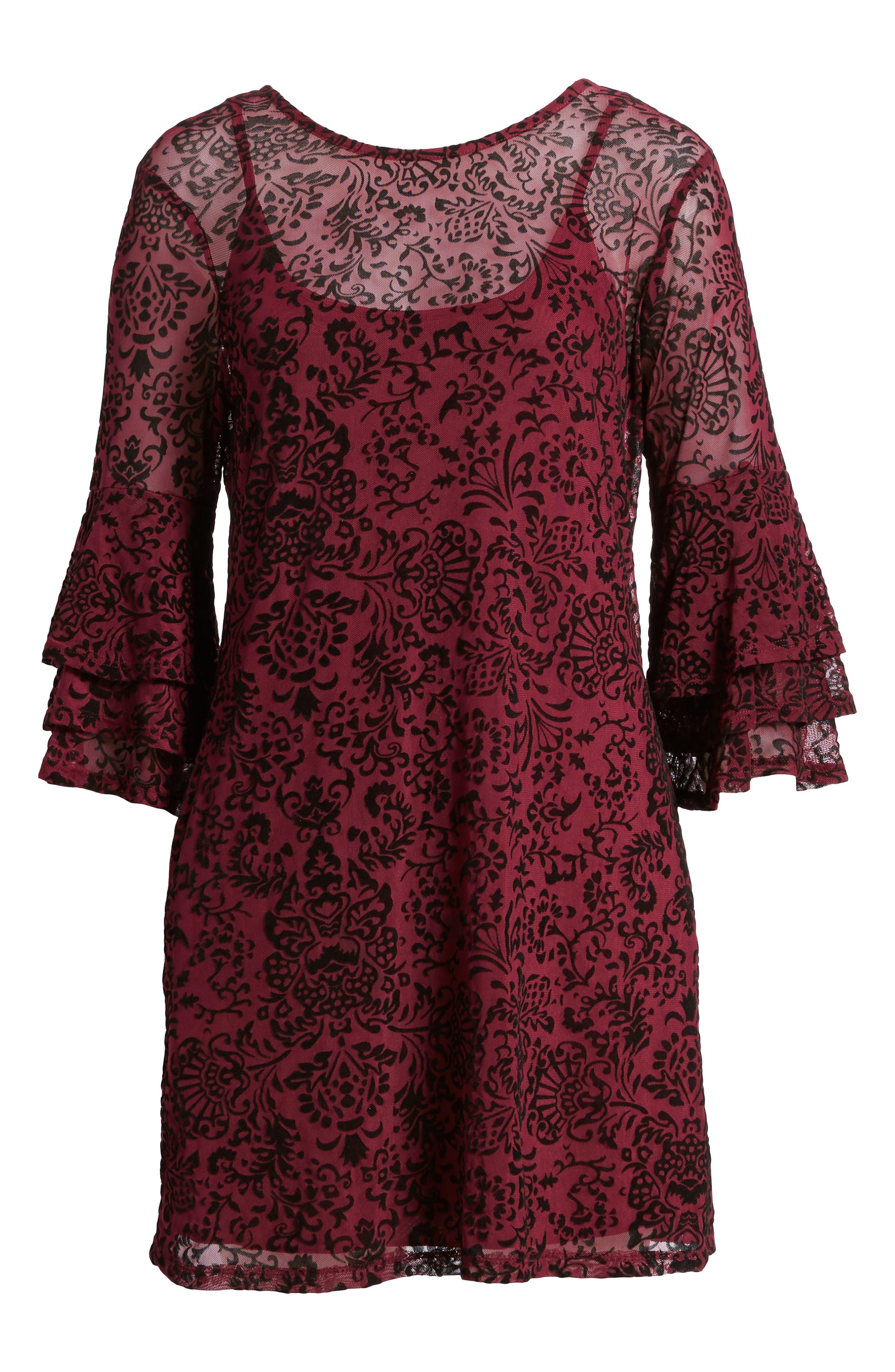 Velvet Detail Minidress,                             Alternate thumbnail 6, color,                             Burgundy/ Black