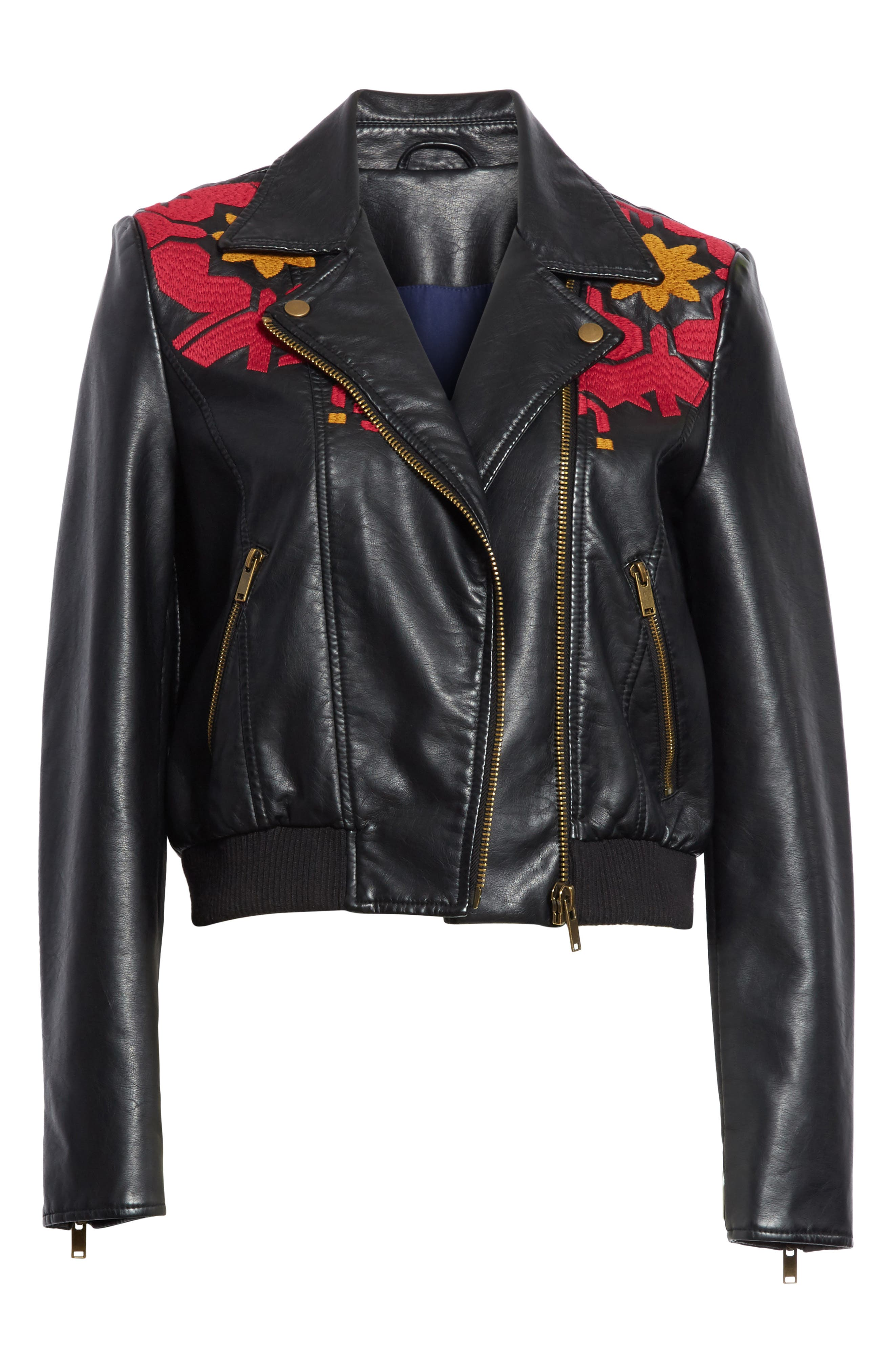 Embroidered Faux Leather Moto Jacket,                             Alternate thumbnail 6, color,                             Black